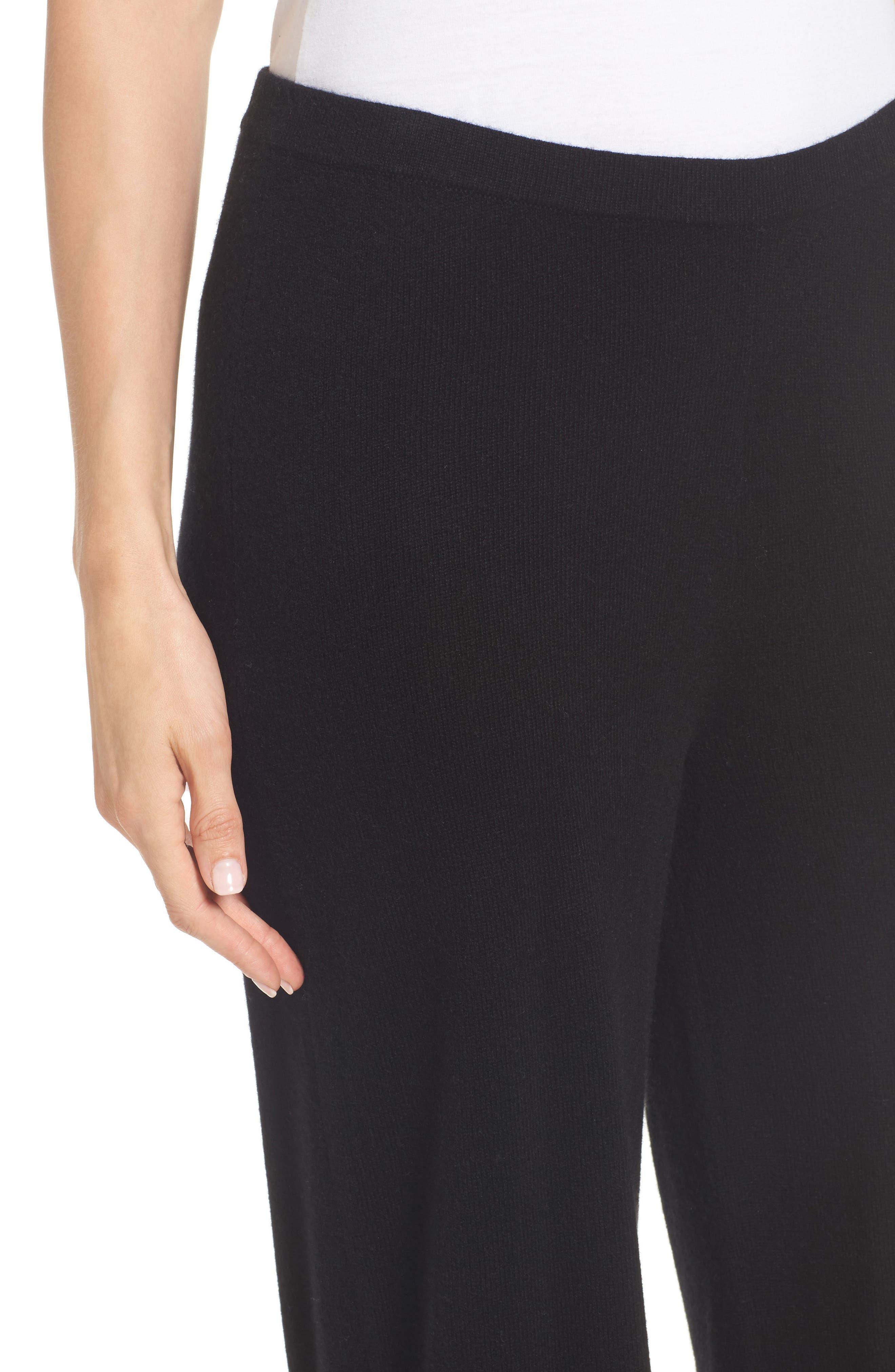 Knit Cashmere Ankle Pants,                             Alternate thumbnail 4, color,                             001