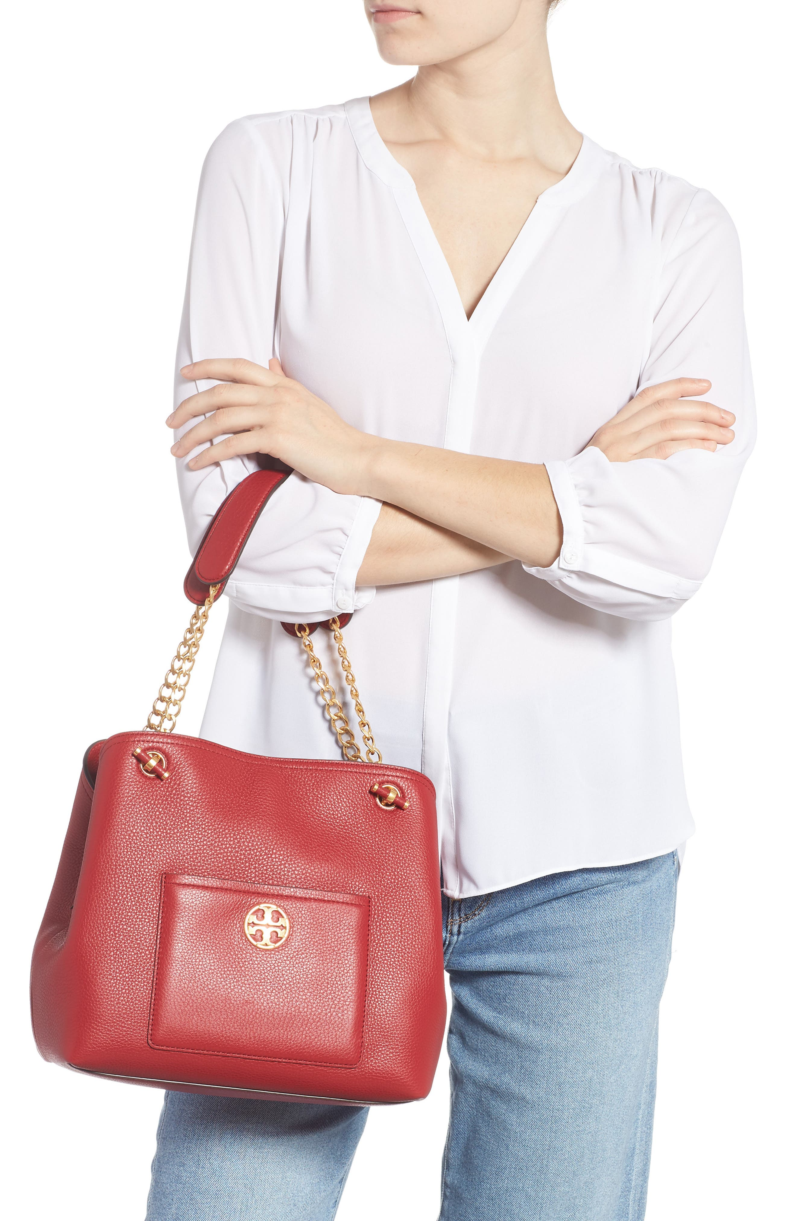 Small Chelsea Leather Tote,                             Alternate thumbnail 2, color,                             REDSTONE