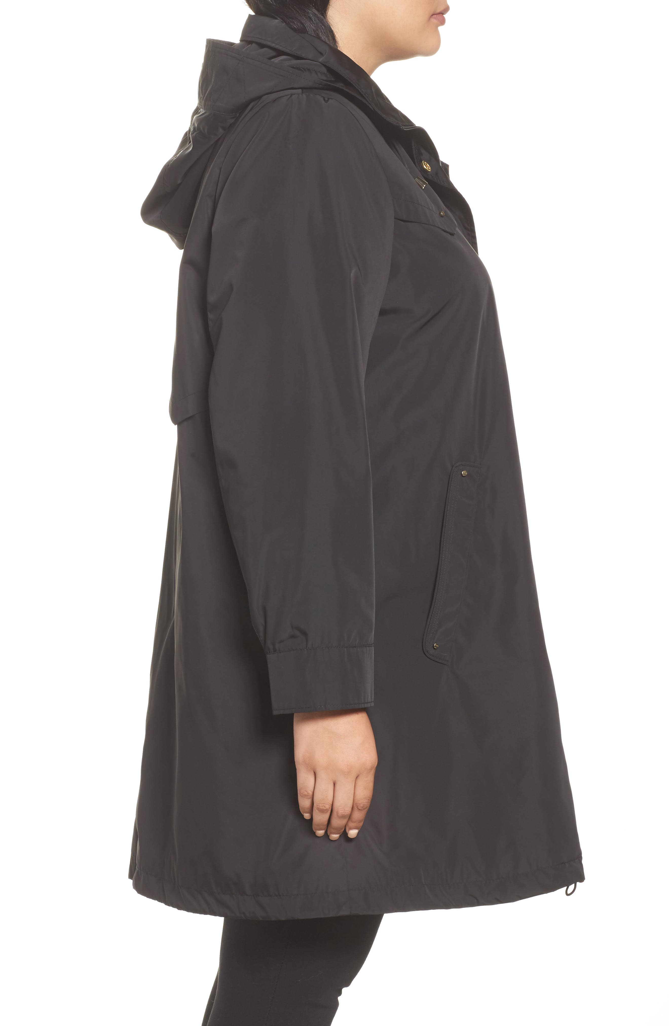 Hooded Packable Utility Coat,                             Alternate thumbnail 3, color,                             001