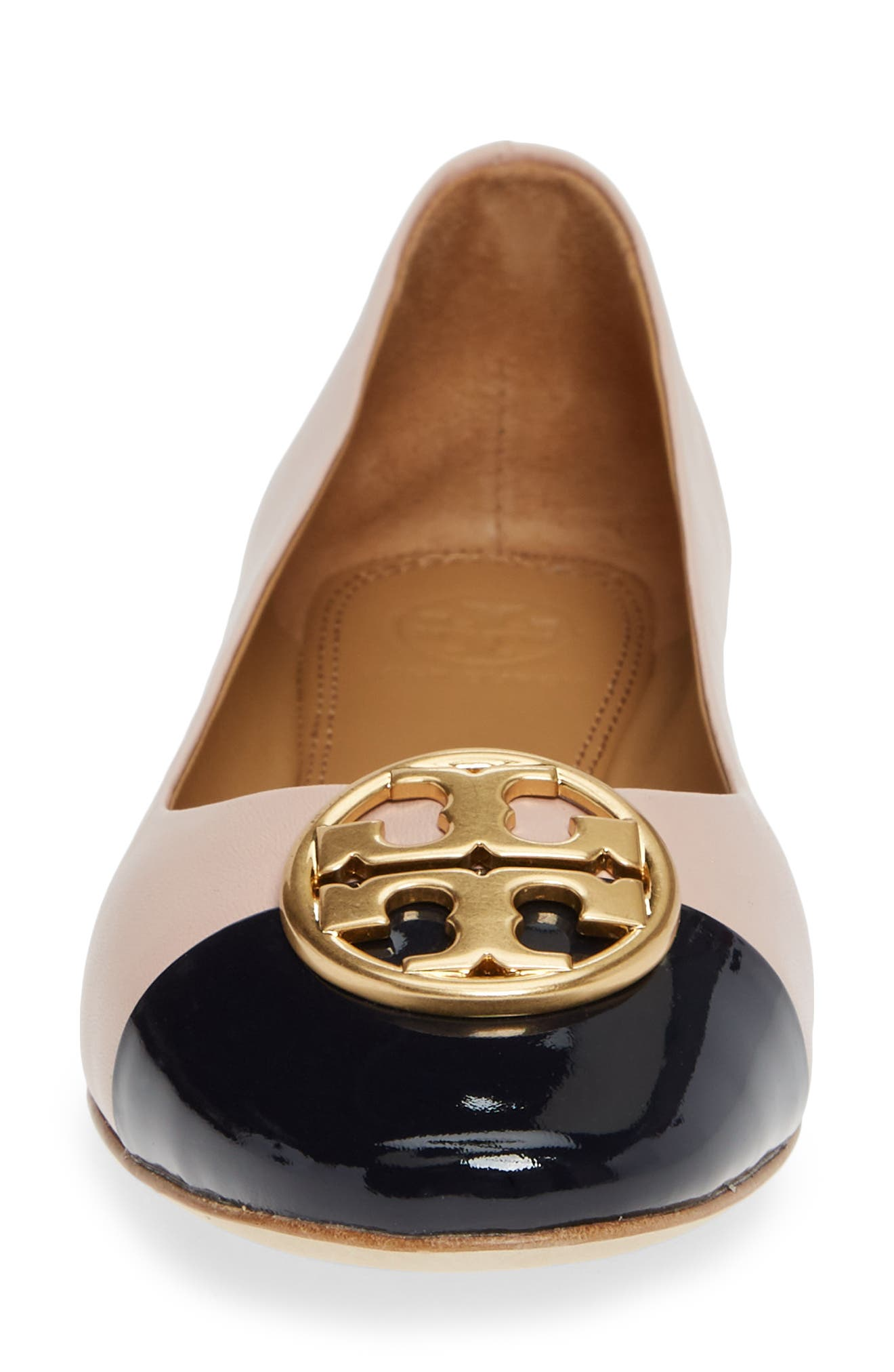 Chelsea Cap Toe Ballet Flat,                             Alternate thumbnail 4, color,                             SEA SHELL PINK / PERFECT NAVY