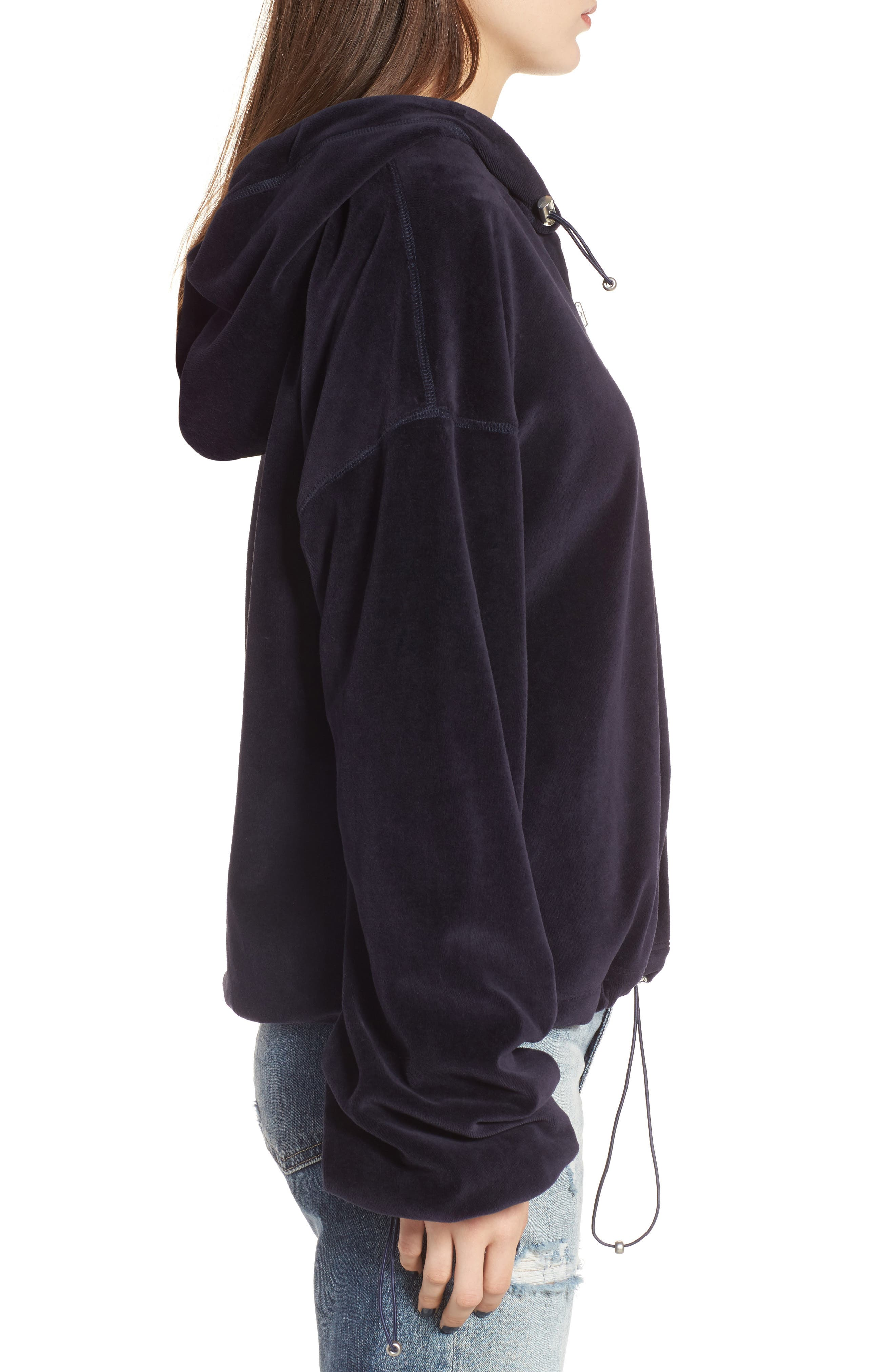 Oversize Velour Hoodie,                             Alternate thumbnail 3, color,                             001