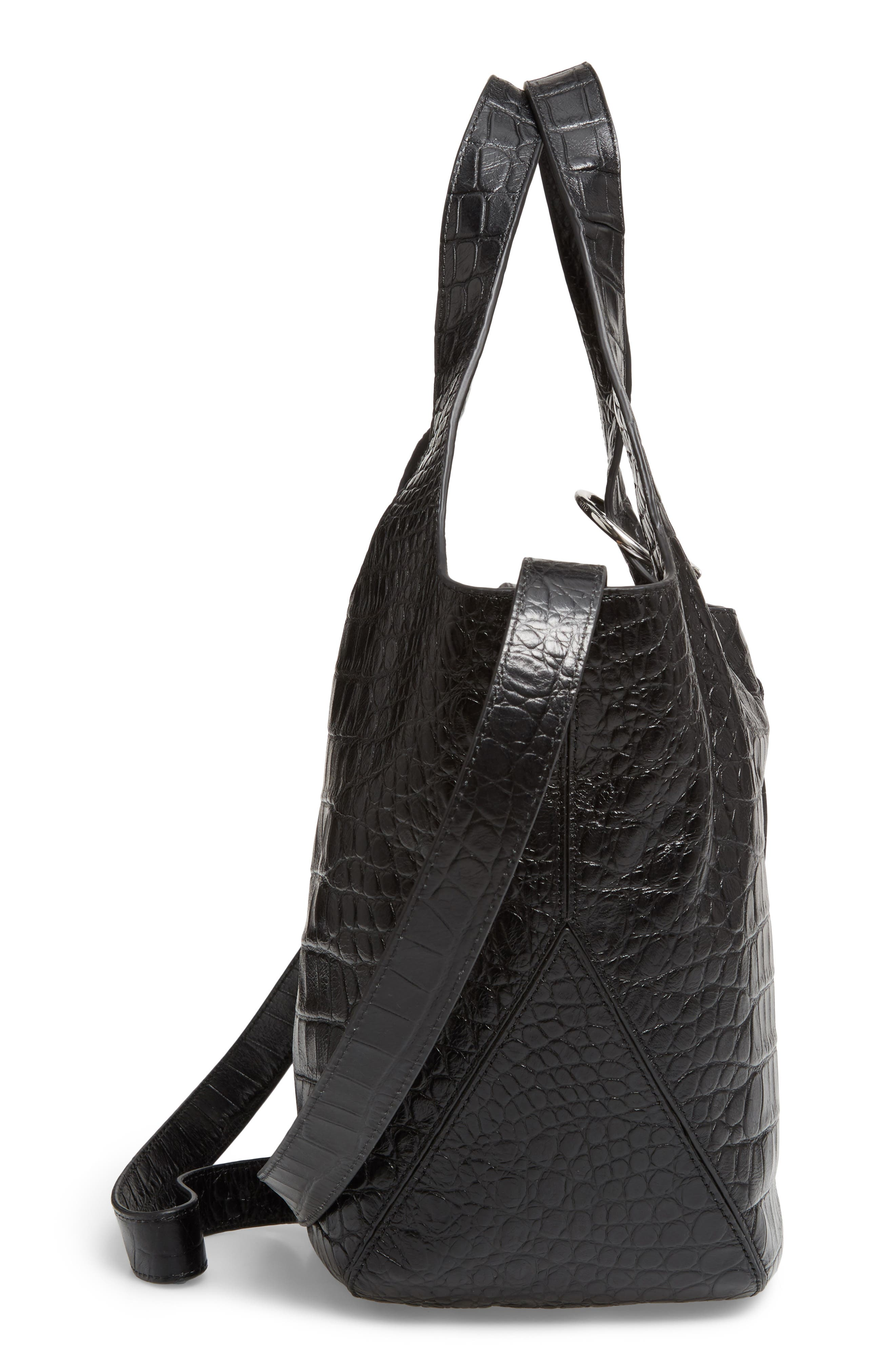 Small Finley Embossed Leather Shopper,                             Alternate thumbnail 5, color,                             001