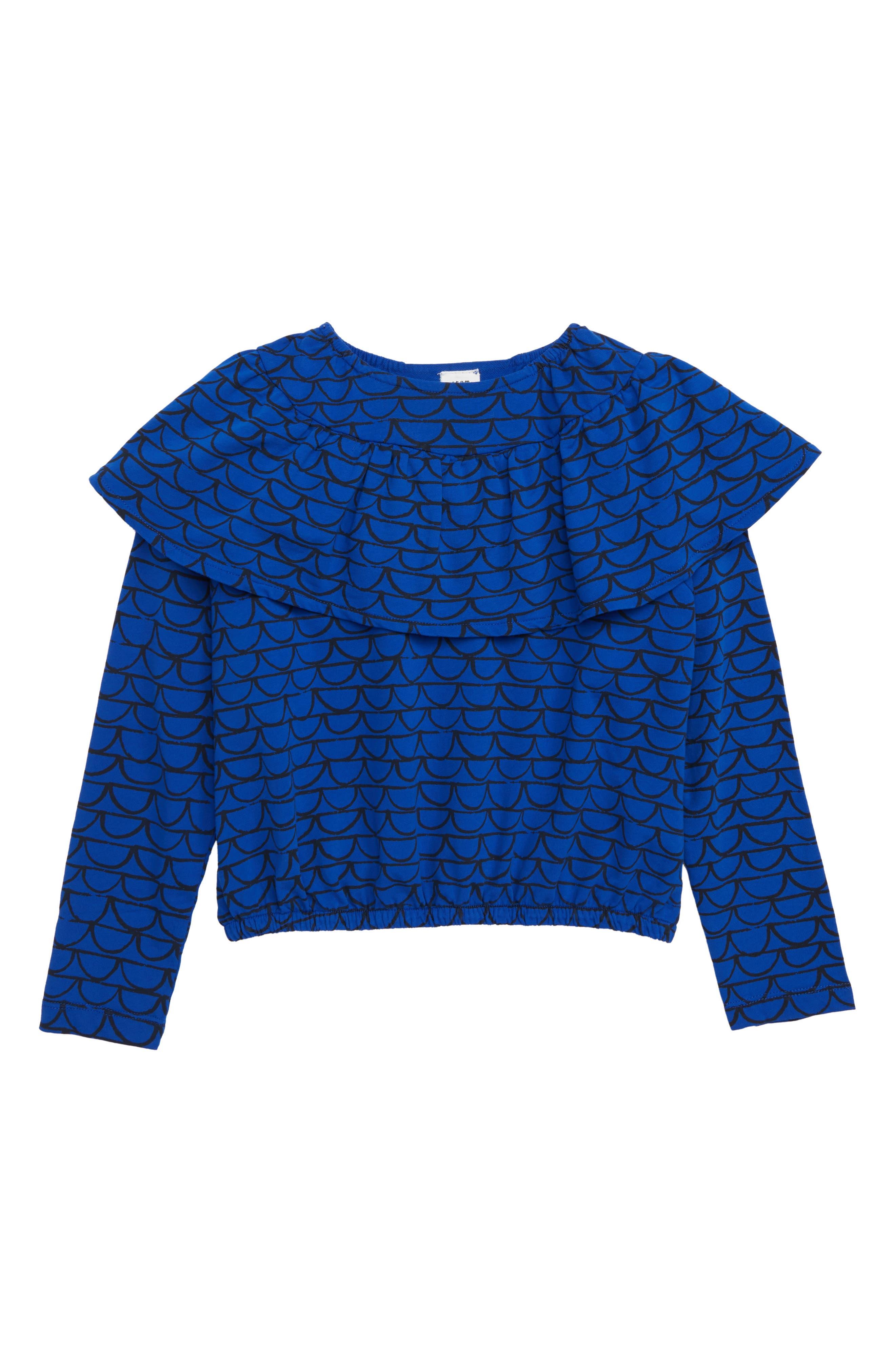Ruffle Top,                         Main,                         color, BLUE MAZARINE SCALLOPS