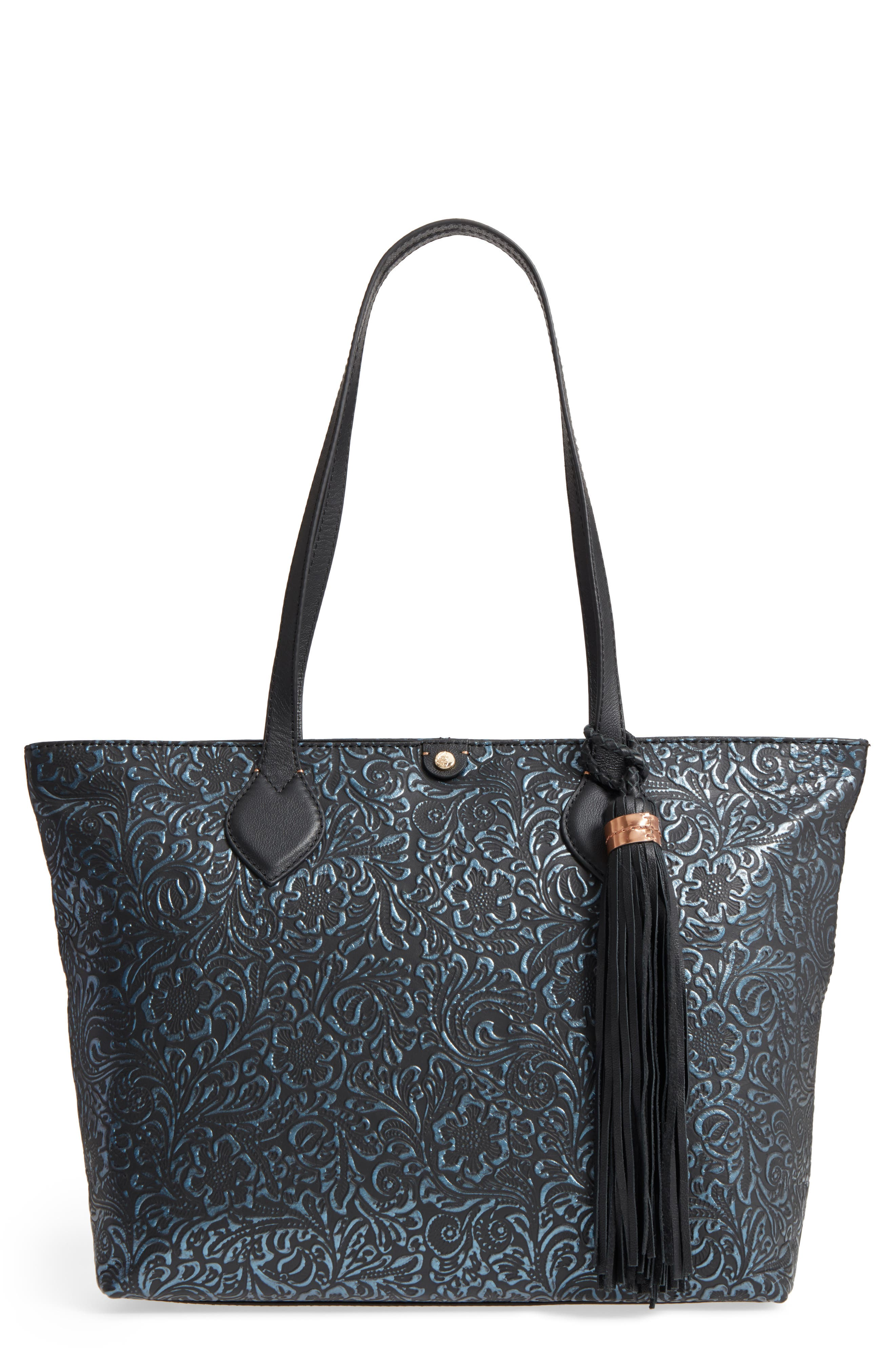 Barbados Leather Tote,                         Main,                         color, 001