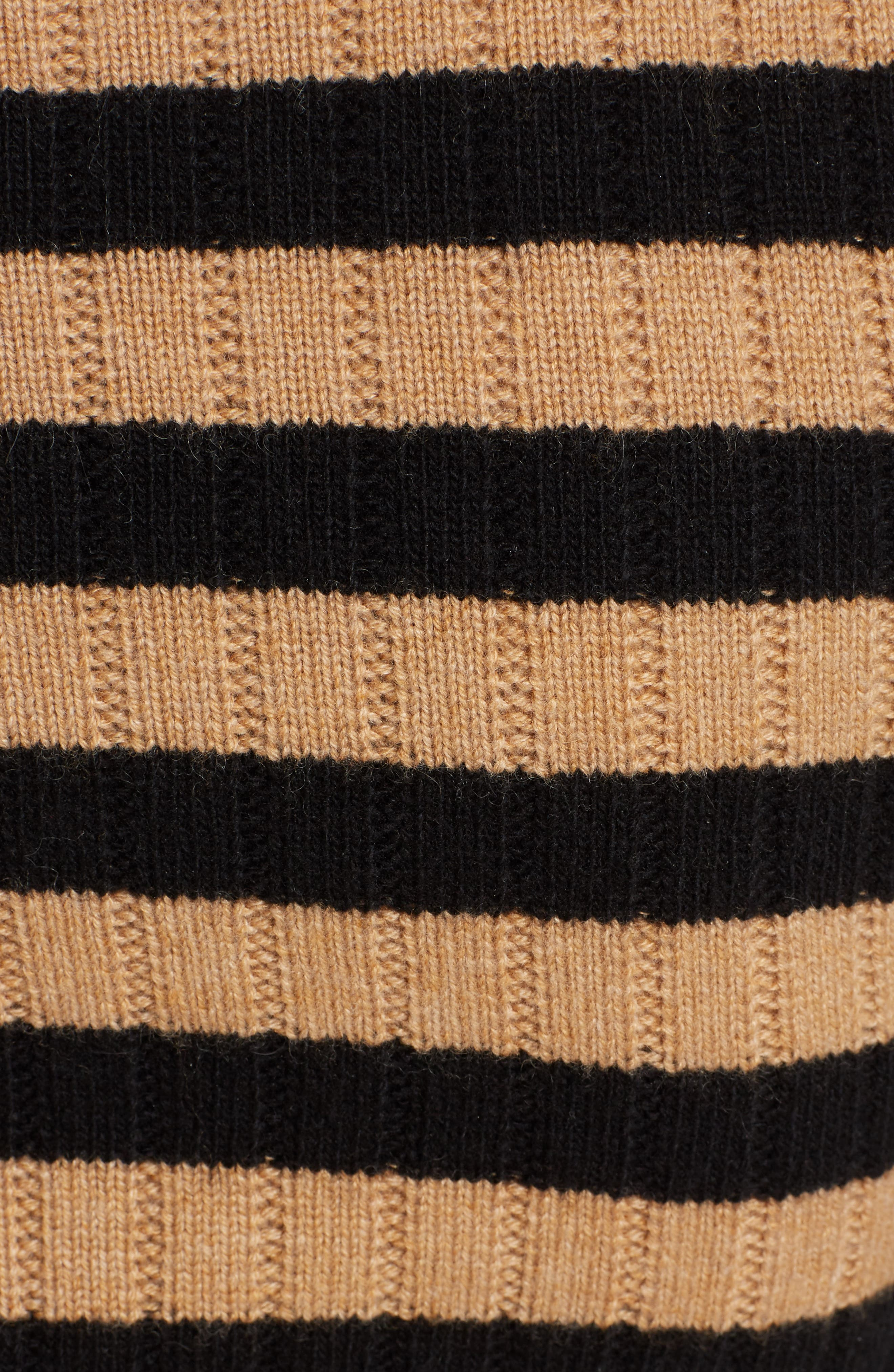 Heart Patch Stripe Wool & Cashmere Sweater,                             Alternate thumbnail 5, color,                             001
