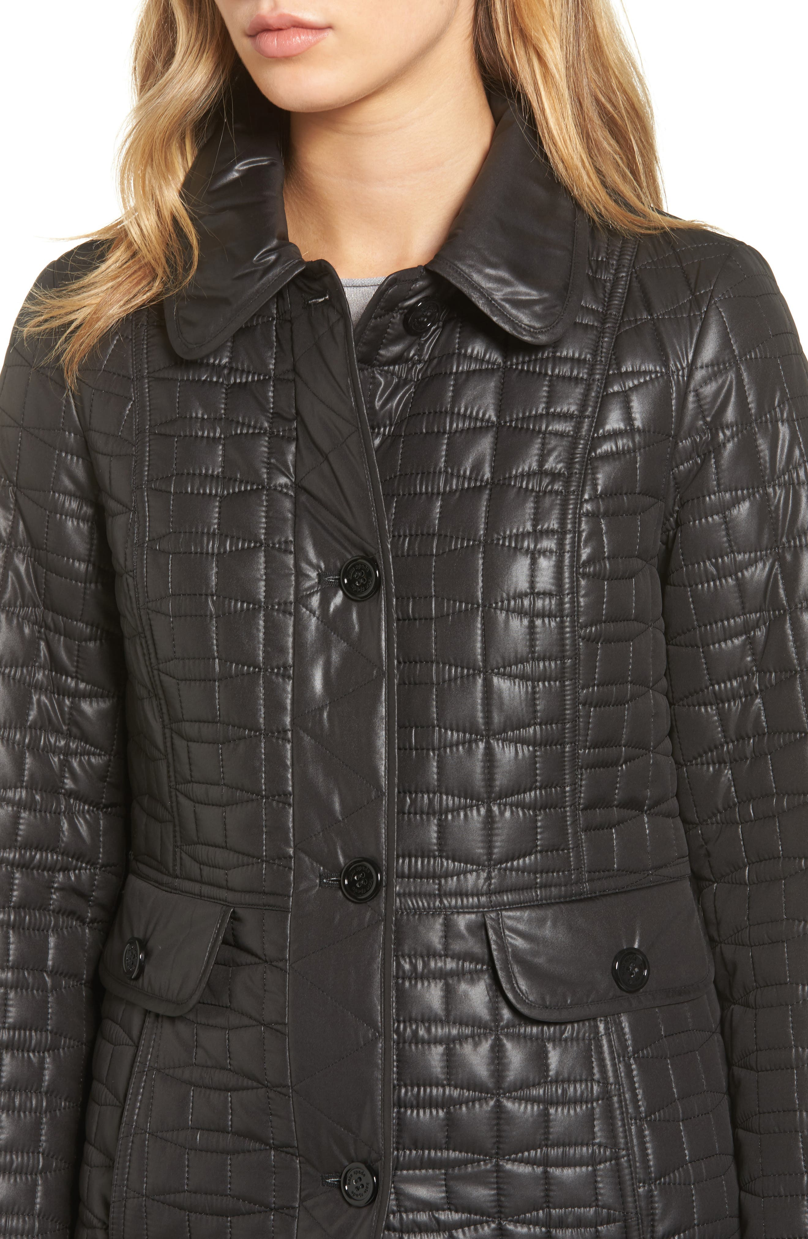 water resistant quilted coat,                             Alternate thumbnail 4, color,                             001