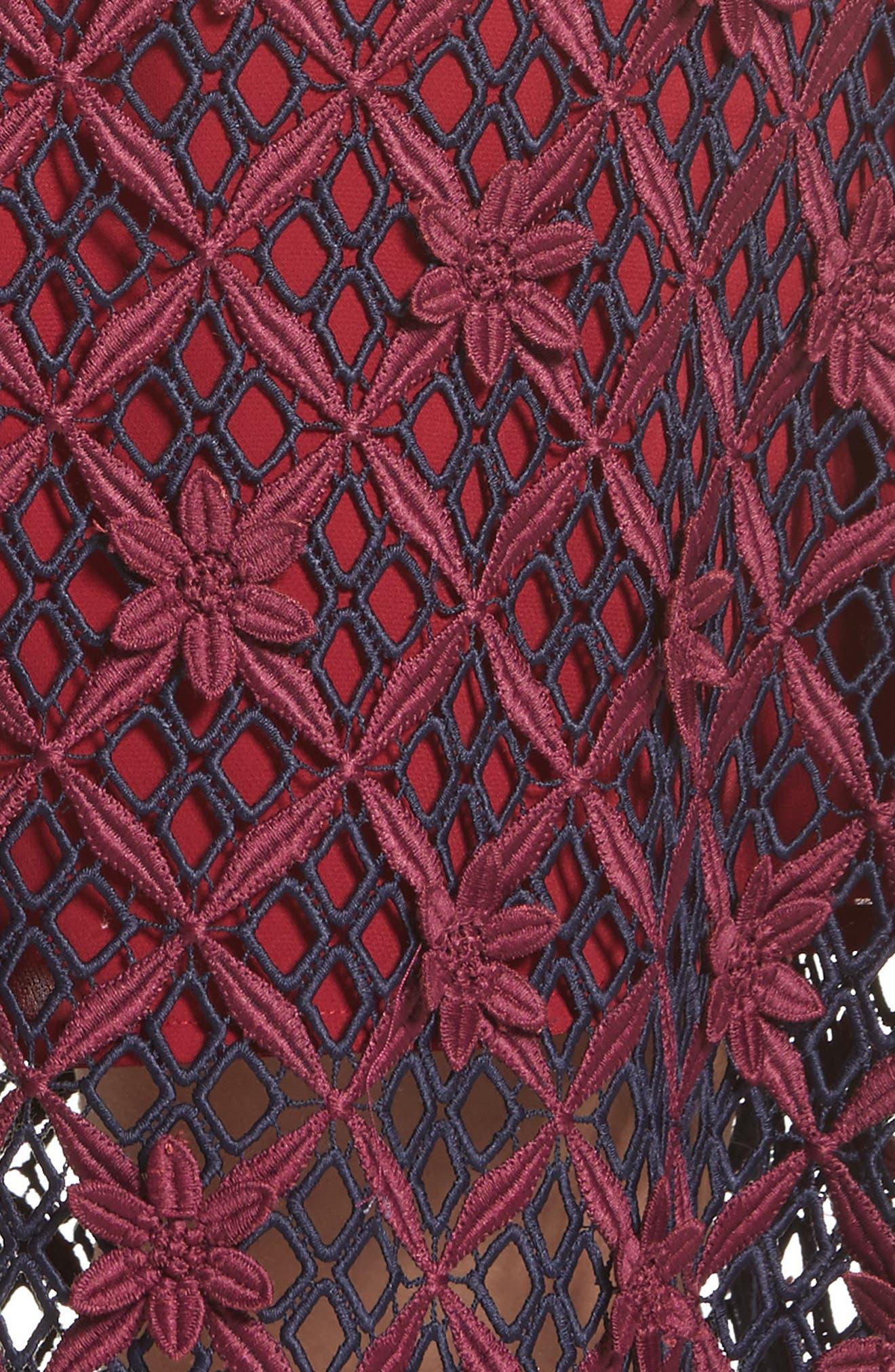 Floral Grid Midi Dress,                             Alternate thumbnail 5, color,                             640