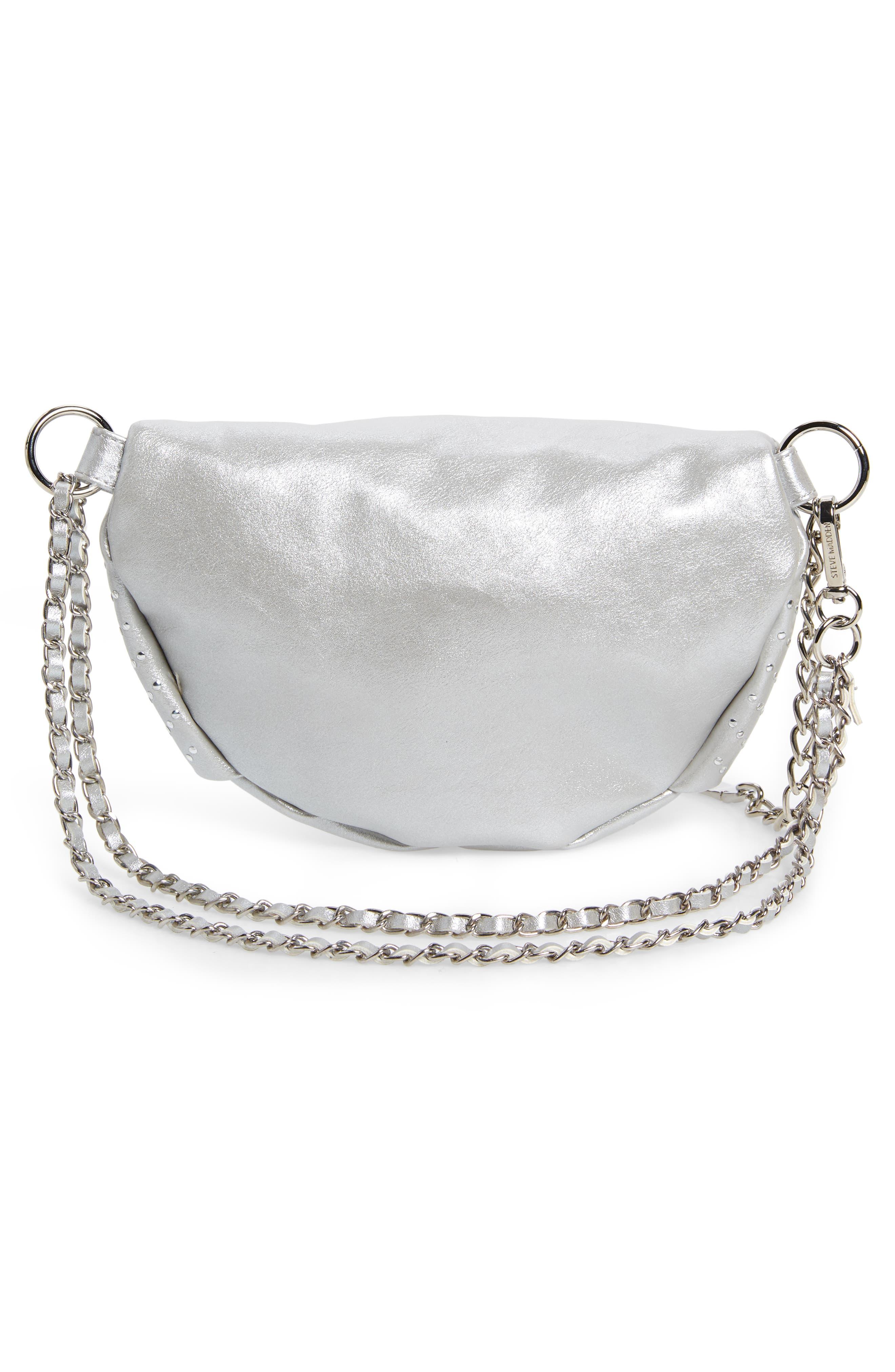 Becca Metallic Studded Belt Bag,                             Alternate thumbnail 4, color,                             SILVER