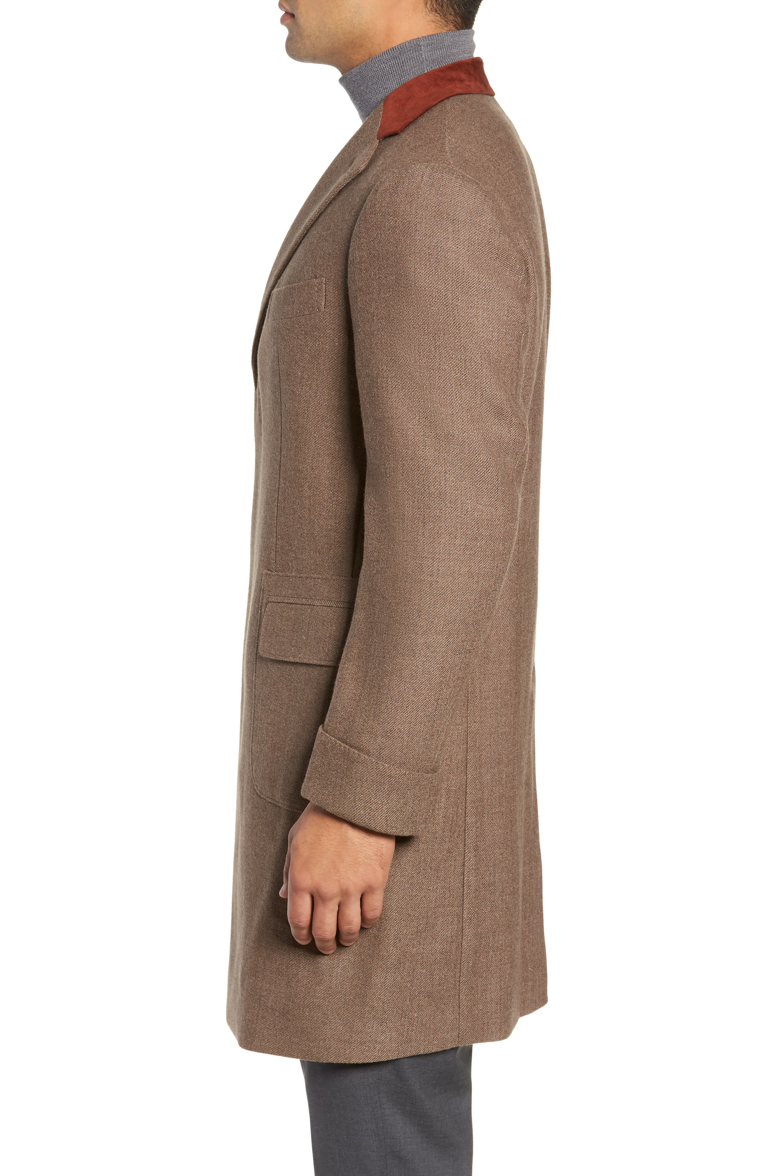 Trim Fit Wool Chesterfield Coat,                             Alternate thumbnail 3, color,                             TAN