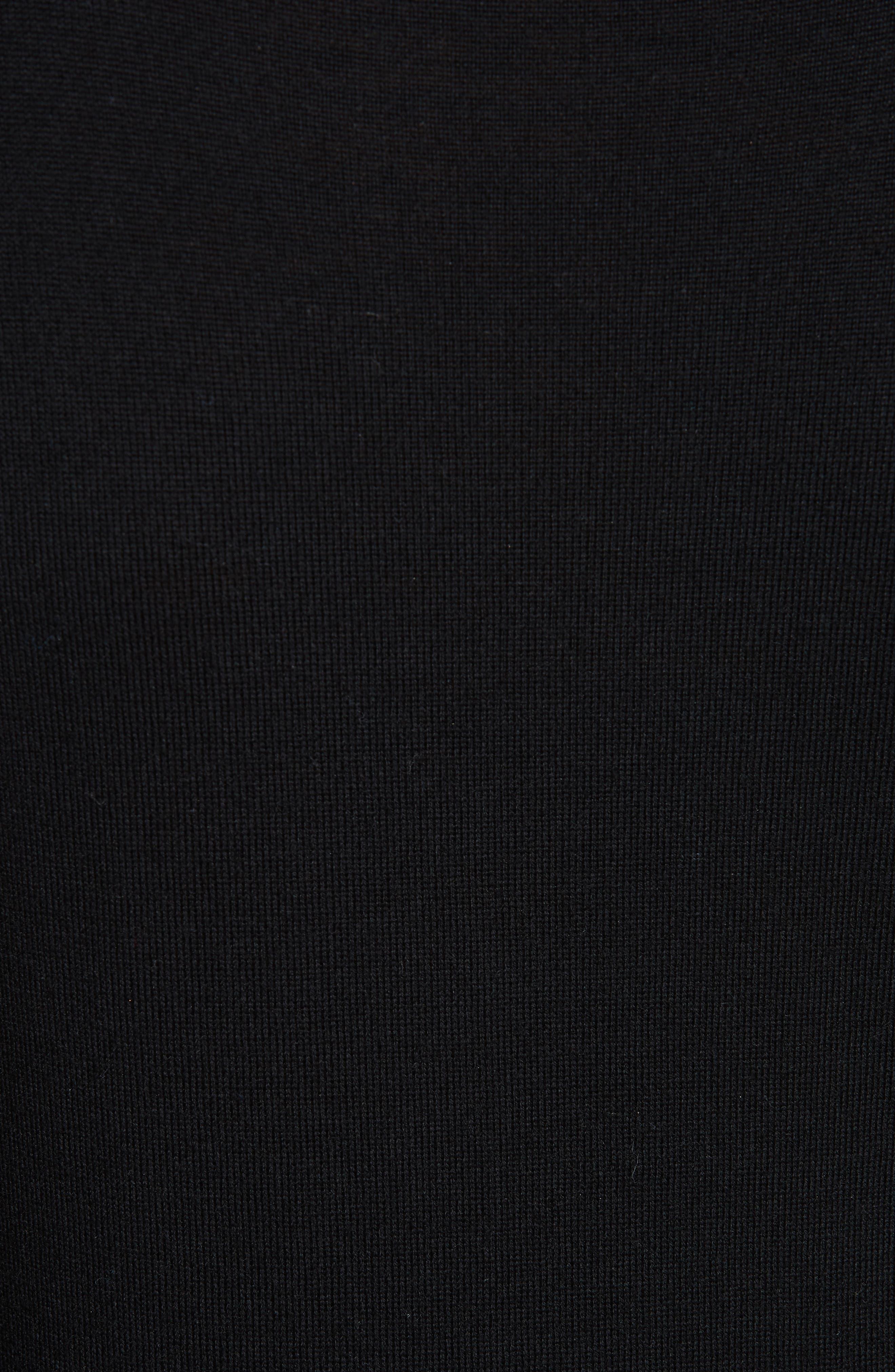 Adler Stretch Silk Sleeve Merino Wool Sweater,                             Alternate thumbnail 5, color,                             BLACK FLORAL
