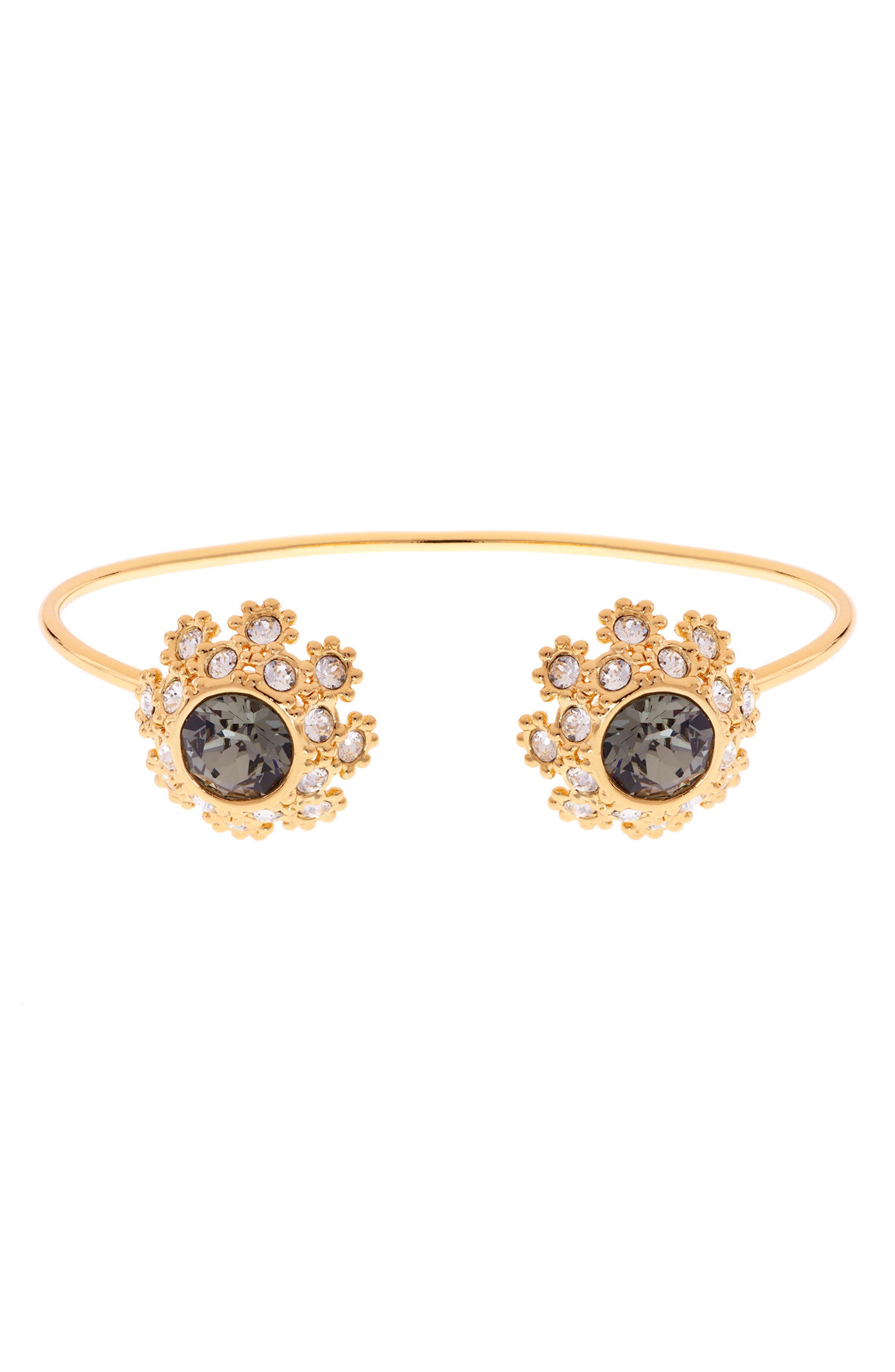 Crystal Daisy Lace Cuff Bracelet,                             Main thumbnail 1, color,                             009