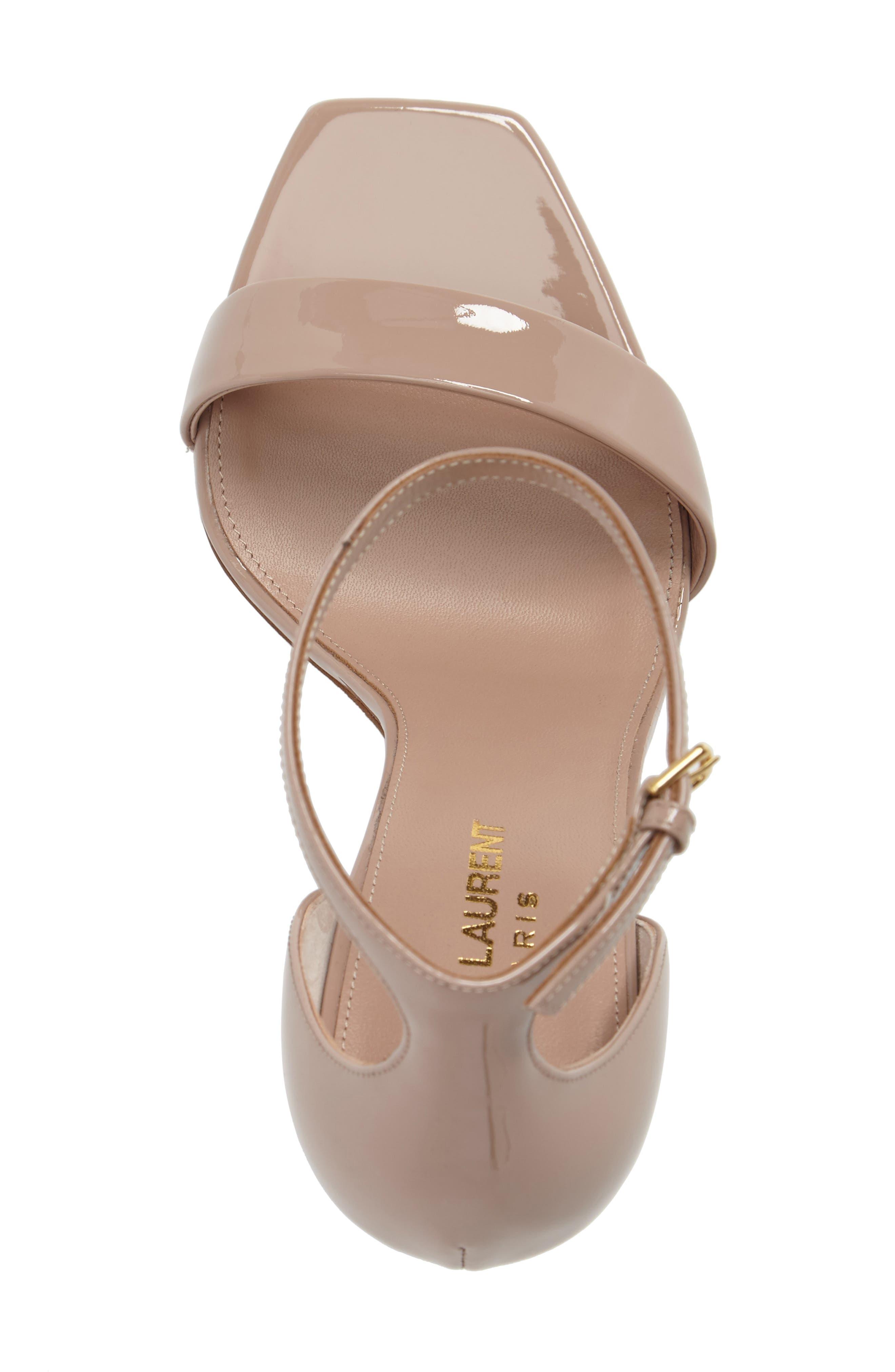 Amber Ankle Strap Sandal,                             Alternate thumbnail 5, color,                             NUDE PATENT
