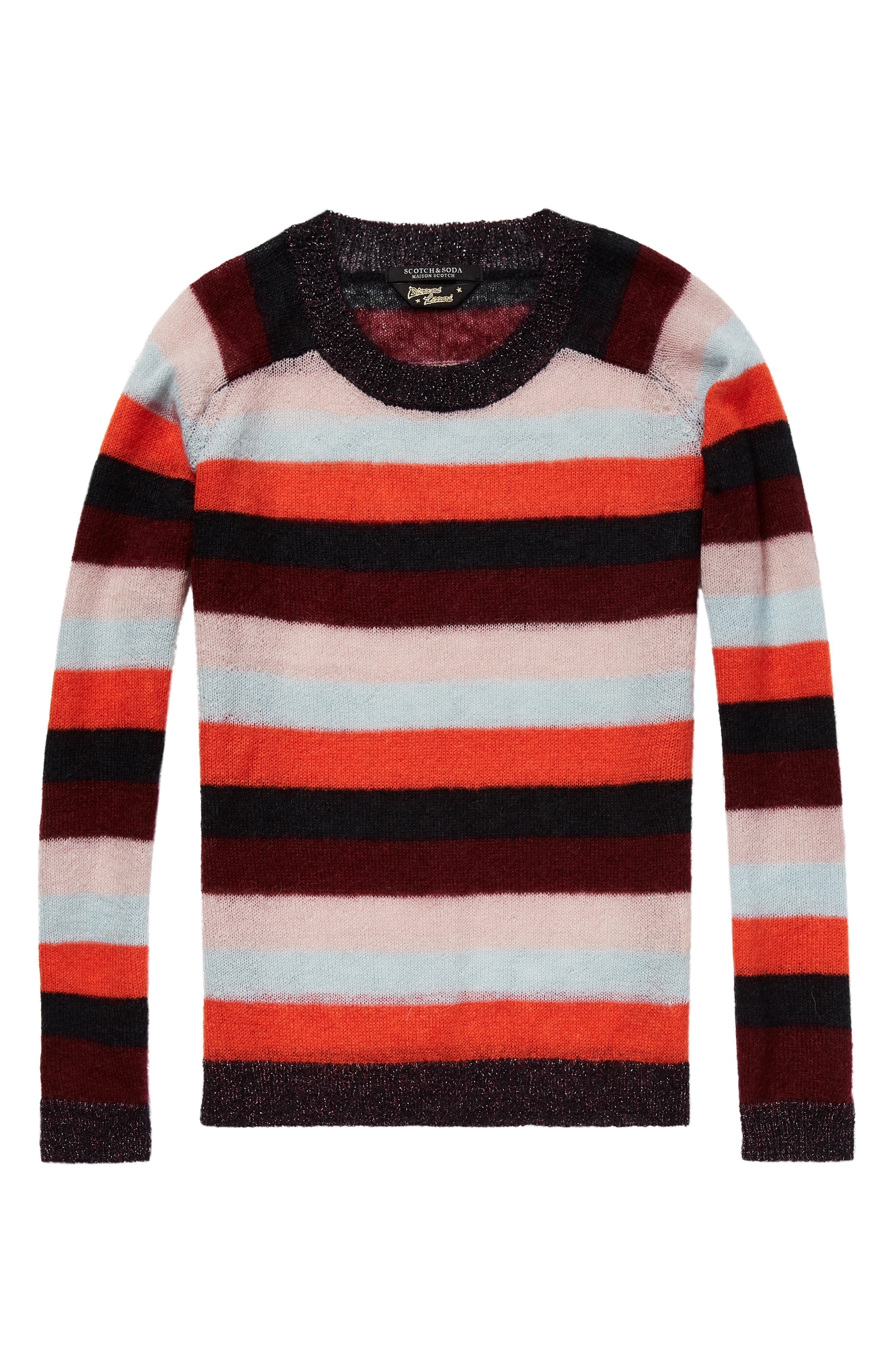 Stripe Sweater,                             Alternate thumbnail 4, color,                             ORANGE BURGUNDY LT BLUE STRIPE