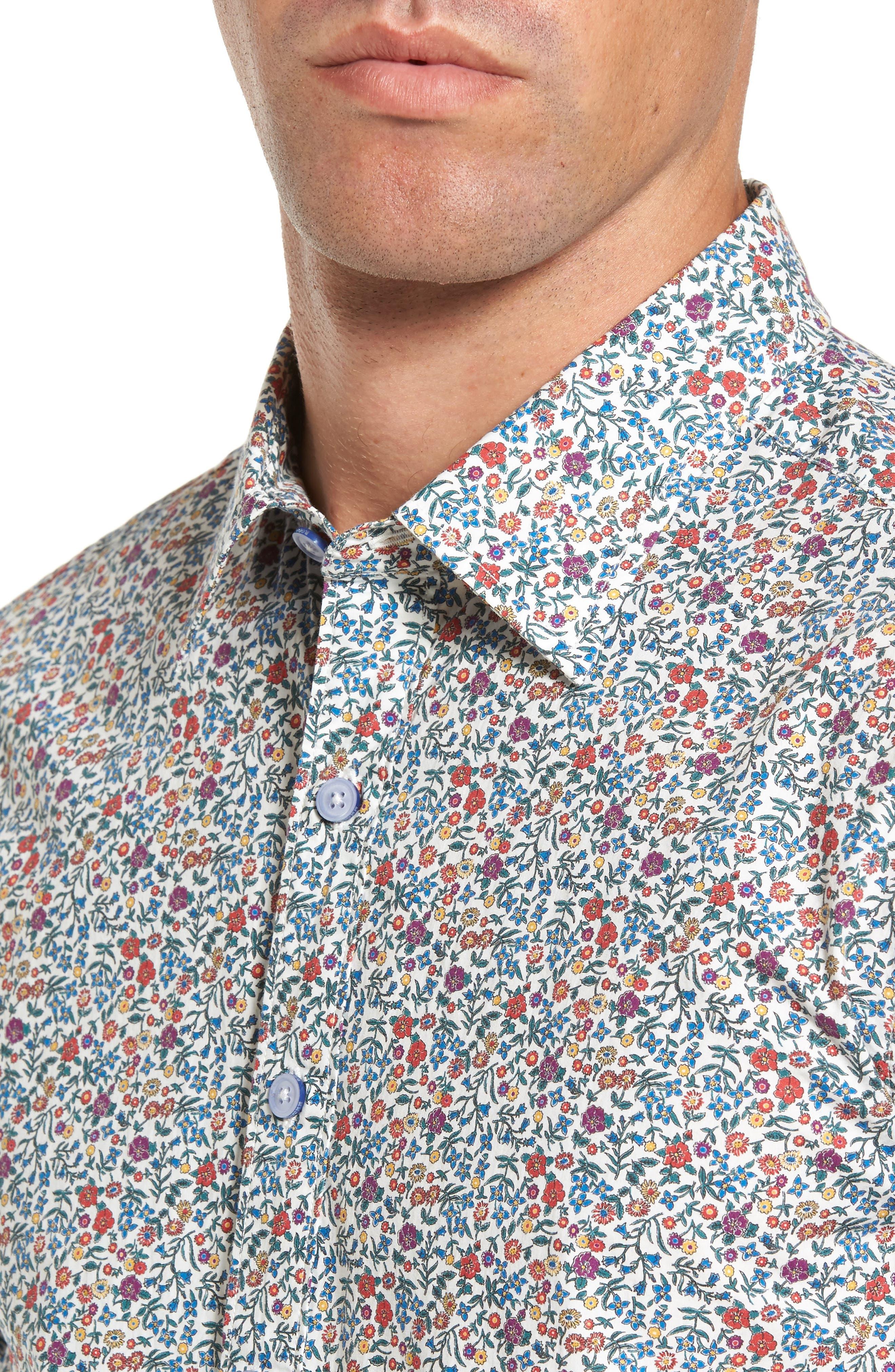 Cowes Bay Regular Fit Floral Sport Shirt,                             Alternate thumbnail 4, color,
