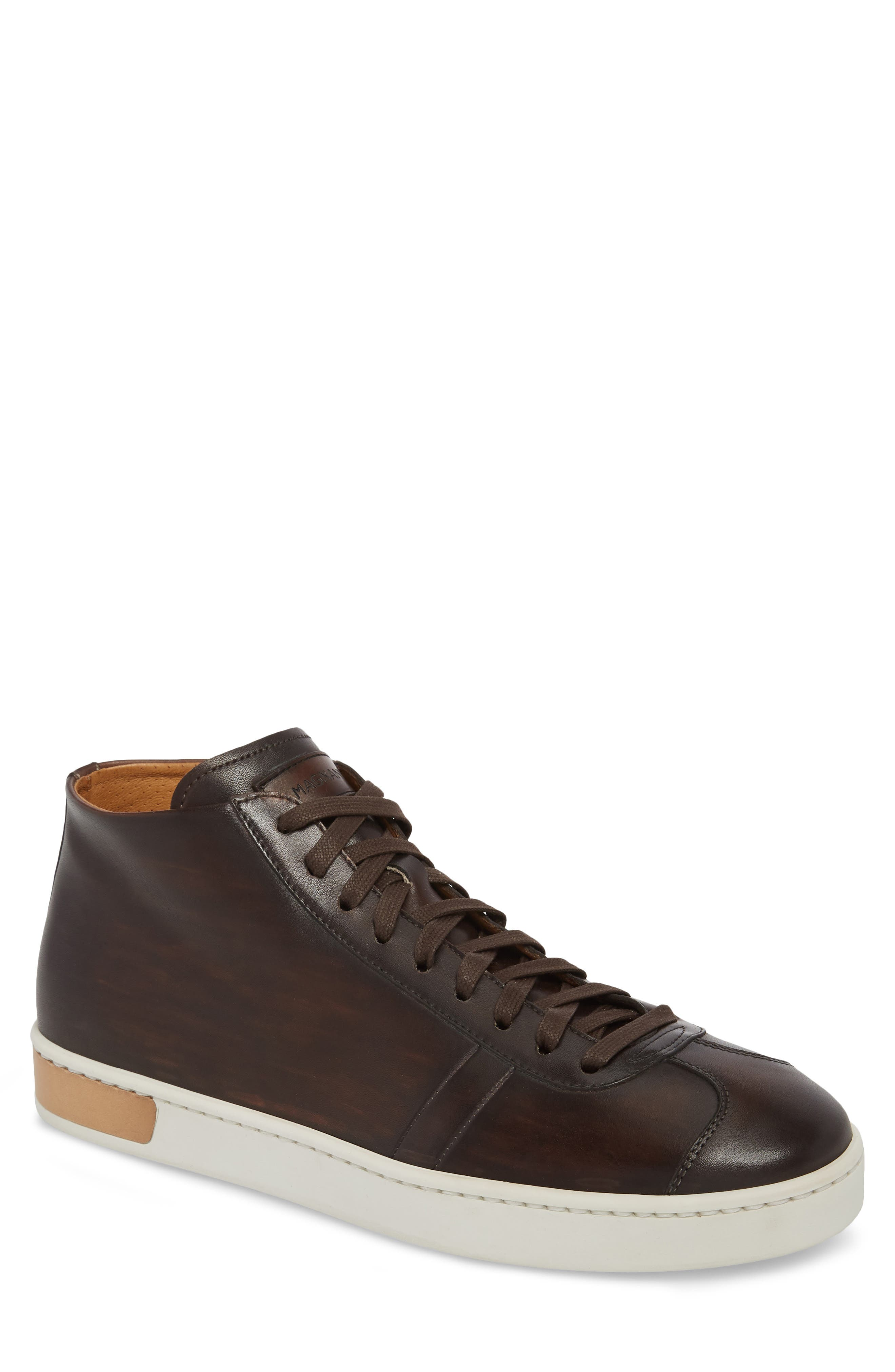 Gunner Mid Top Sneaker,                         Main,                         color, BROWN LEATHER
