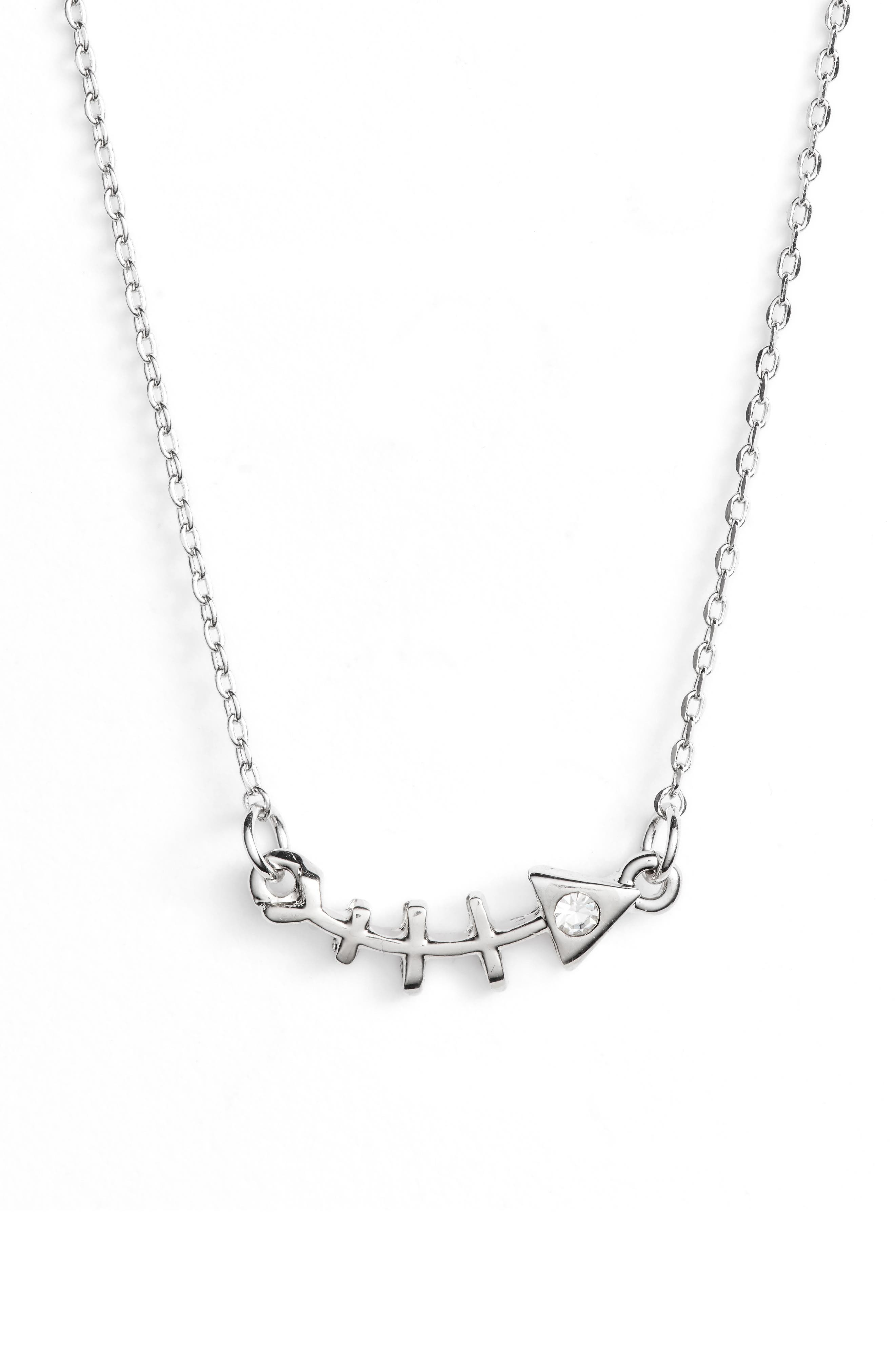 Fish Bone Statement Necklace,                         Main,                         color, SILVER