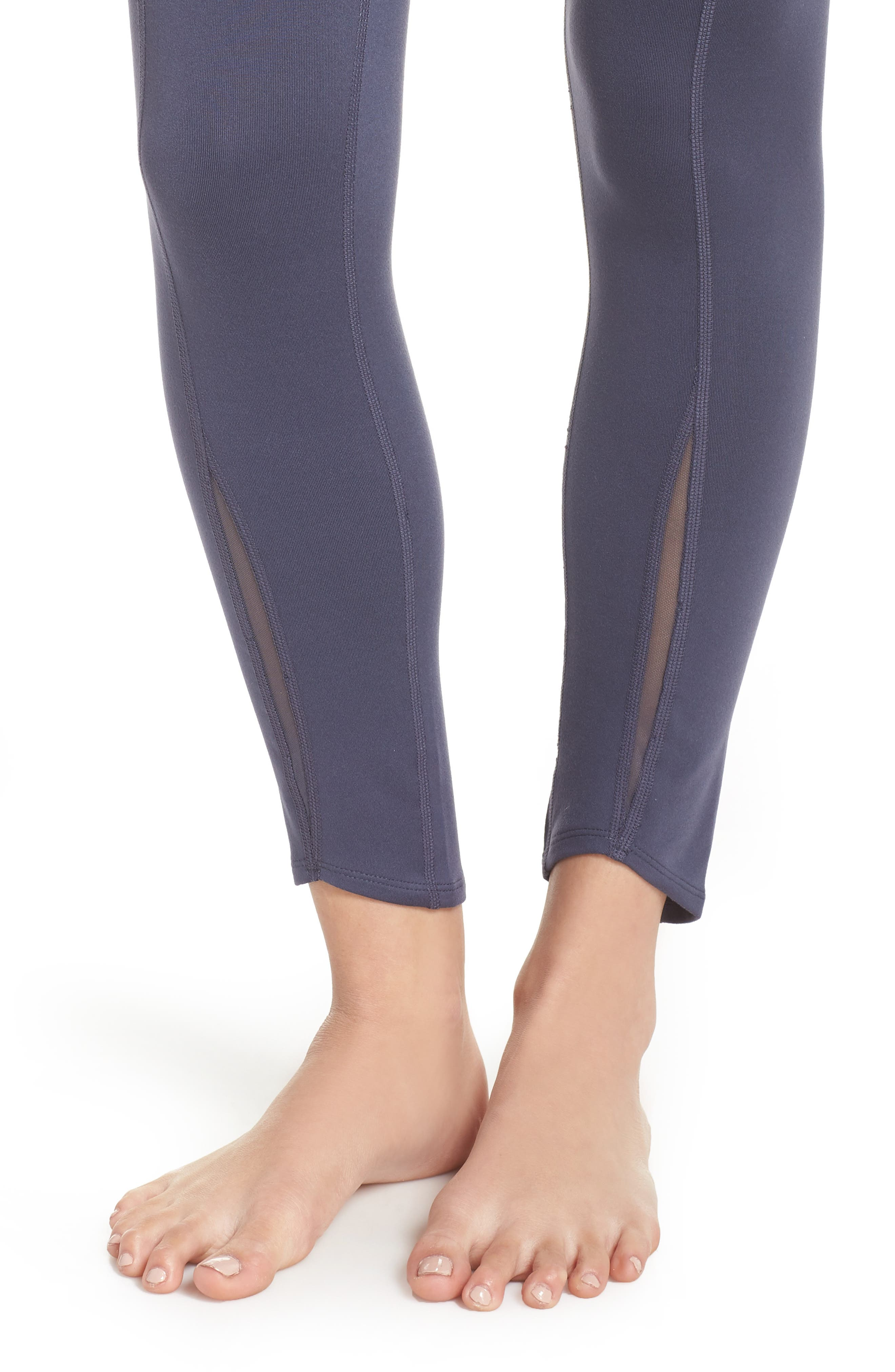 Refocus Recycled High Waist Midi Leggings,                             Alternate thumbnail 4, color,                             021