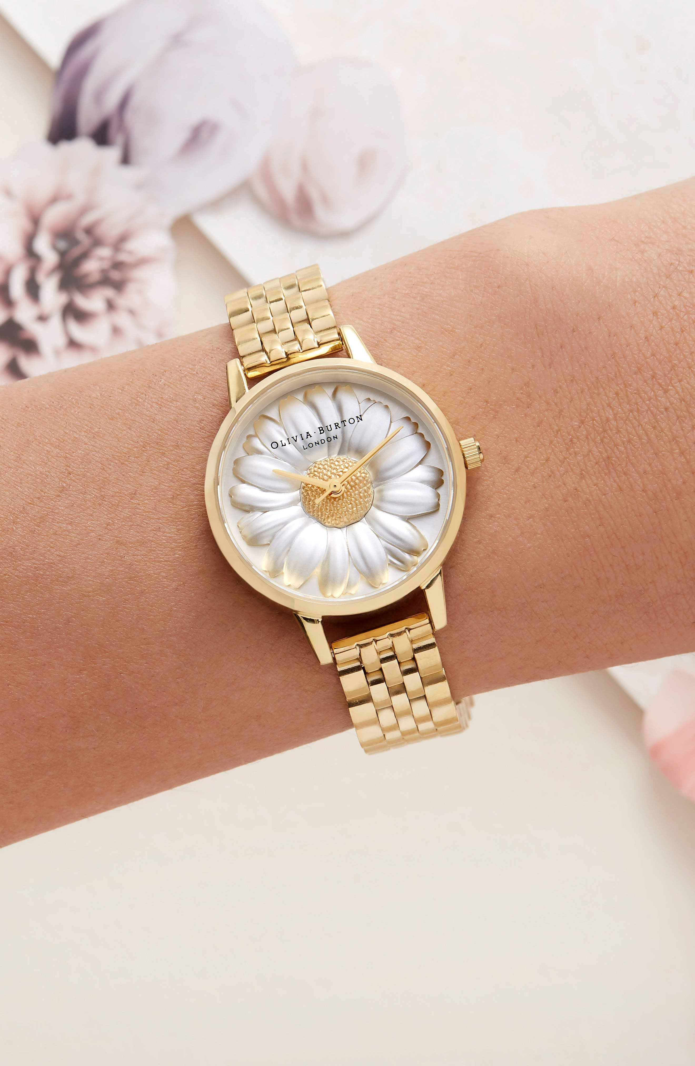 3D Daisy Bracelet Watch, 30mm,                             Alternate thumbnail 6, color,                             GOLD/ IVORY/ GOLD