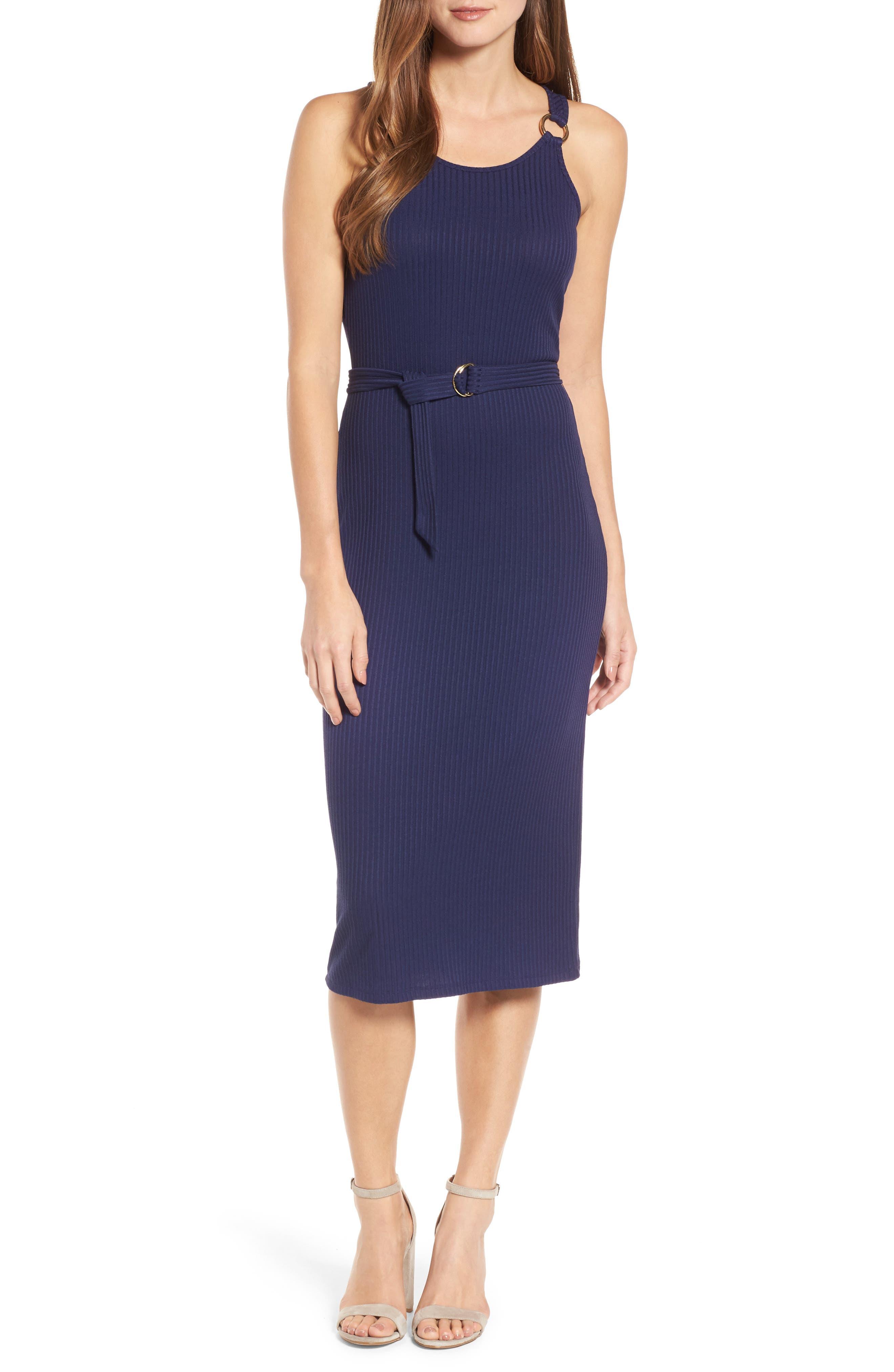Ribbed Circle Trim Body-Con Dress,                         Main,                         color, 456