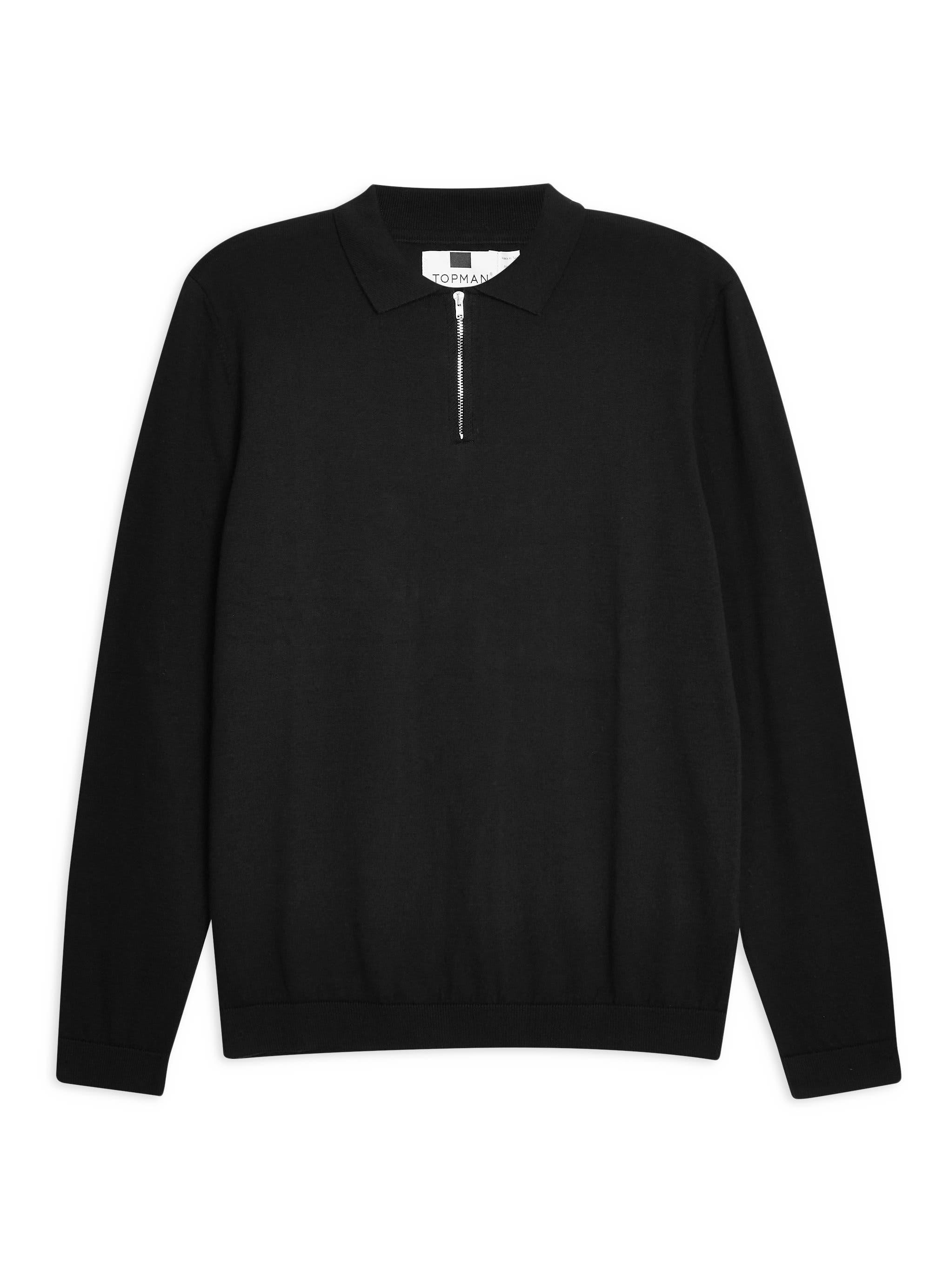 Zip Long Sleeve Polo,                             Alternate thumbnail 4, color,                             BLACK