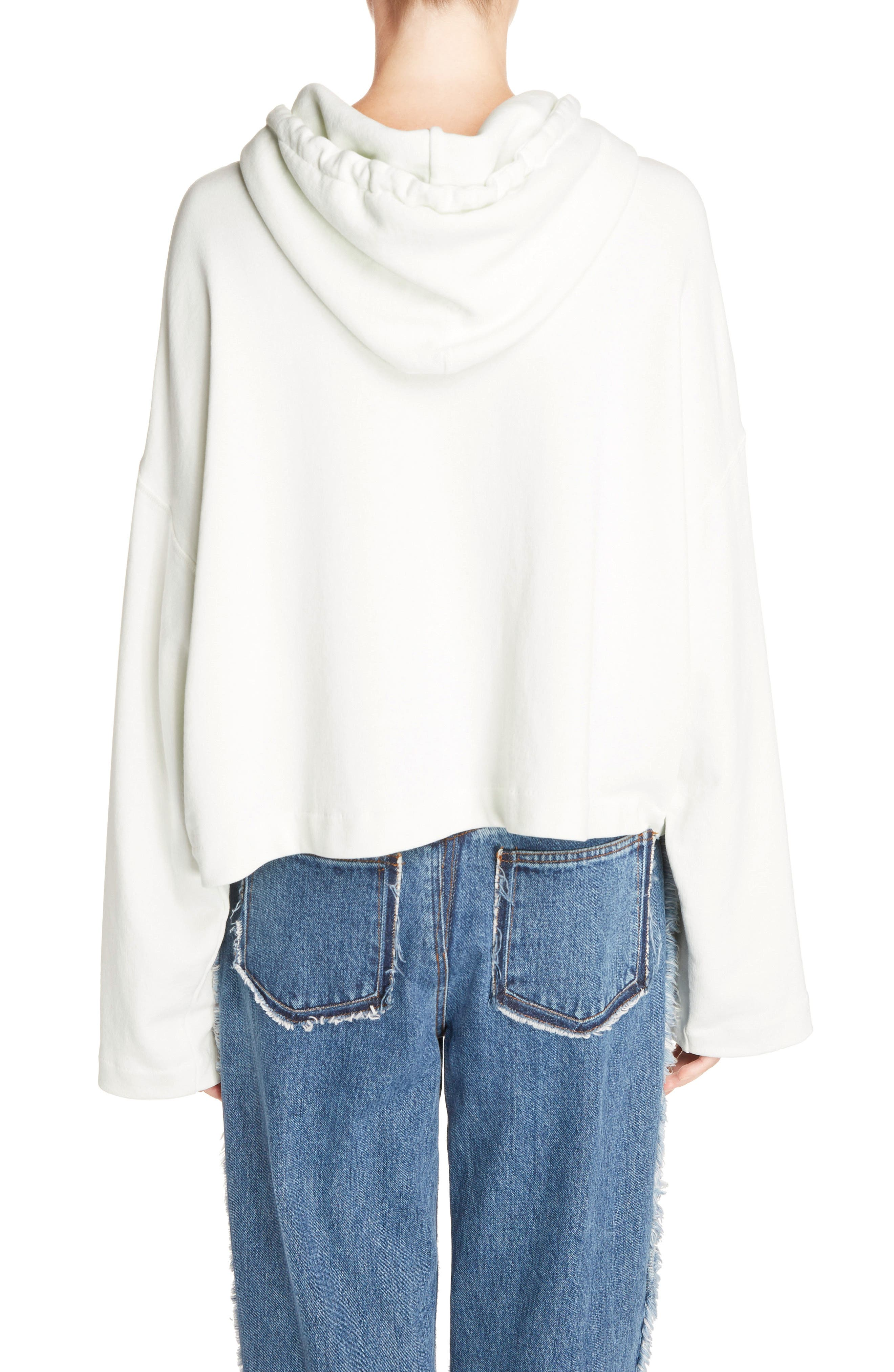 Joggy Crop Hoodie,                             Alternate thumbnail 2, color,                             ICE WHITE