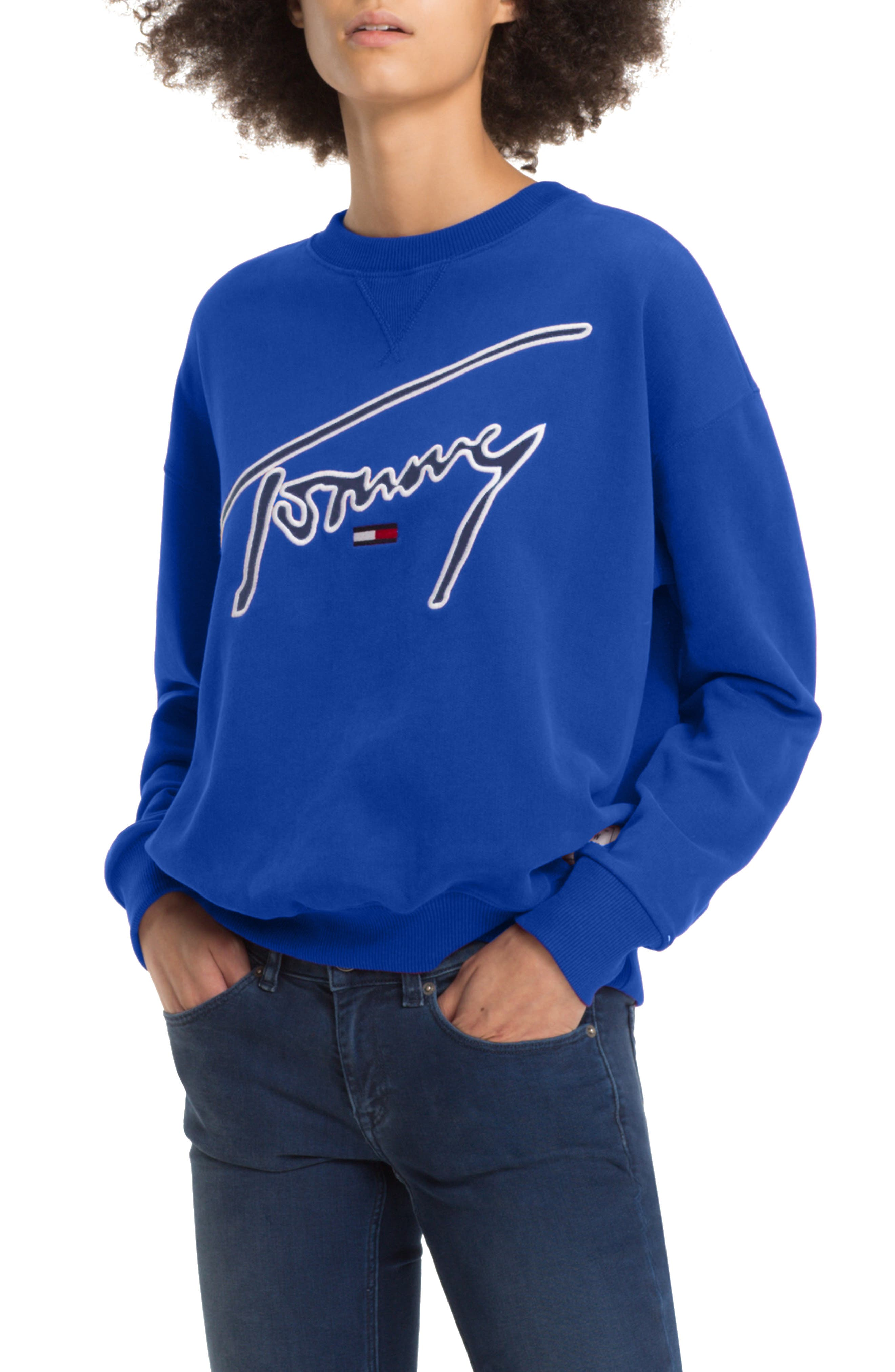 TOMMY JEANS,                             TJW Embroidered Logo Sweatshirt,                             Main thumbnail 1, color,                             419