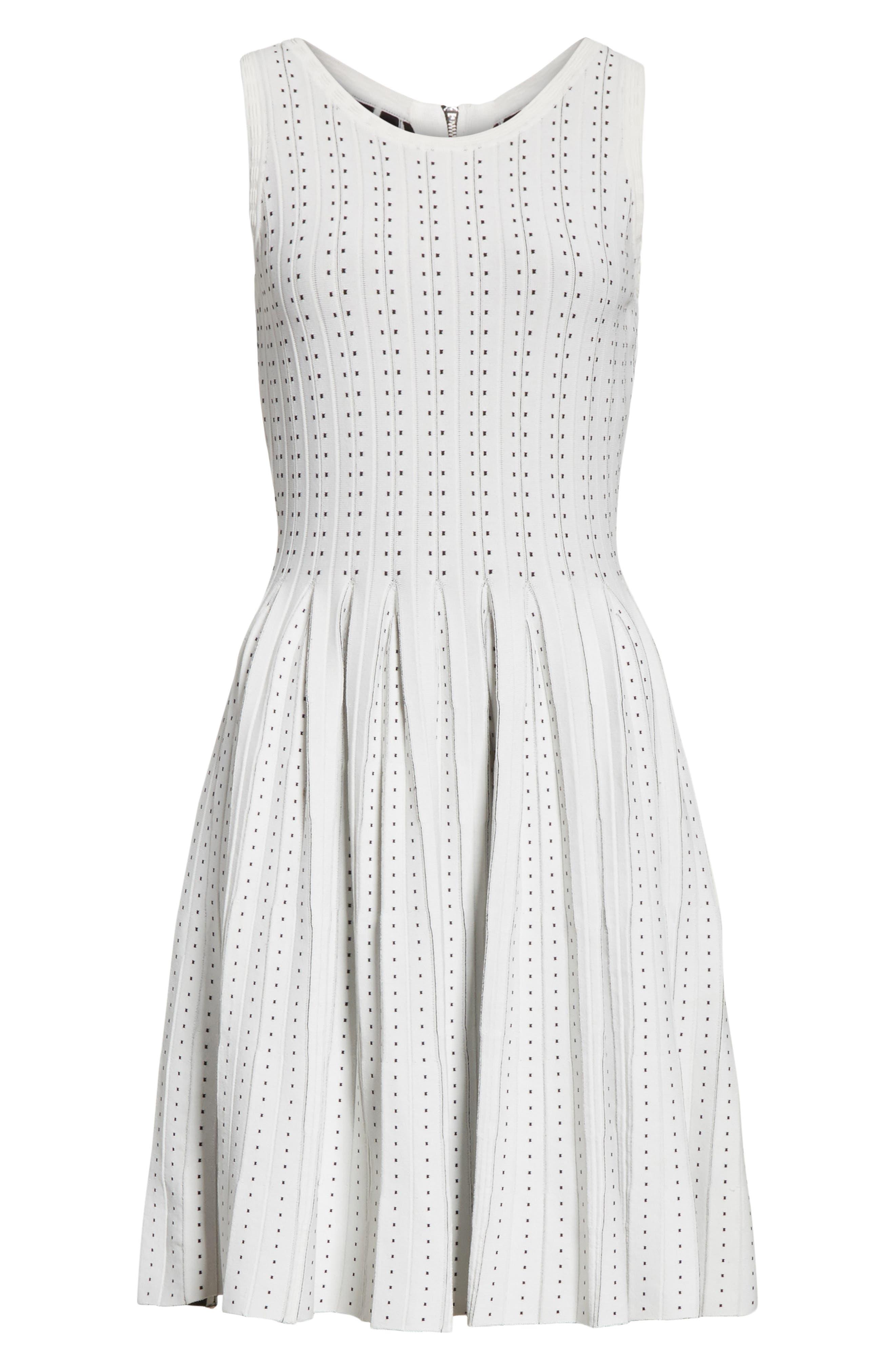 Dot Pleat Fit & Flare Dress,                             Alternate thumbnail 6, color,                             110