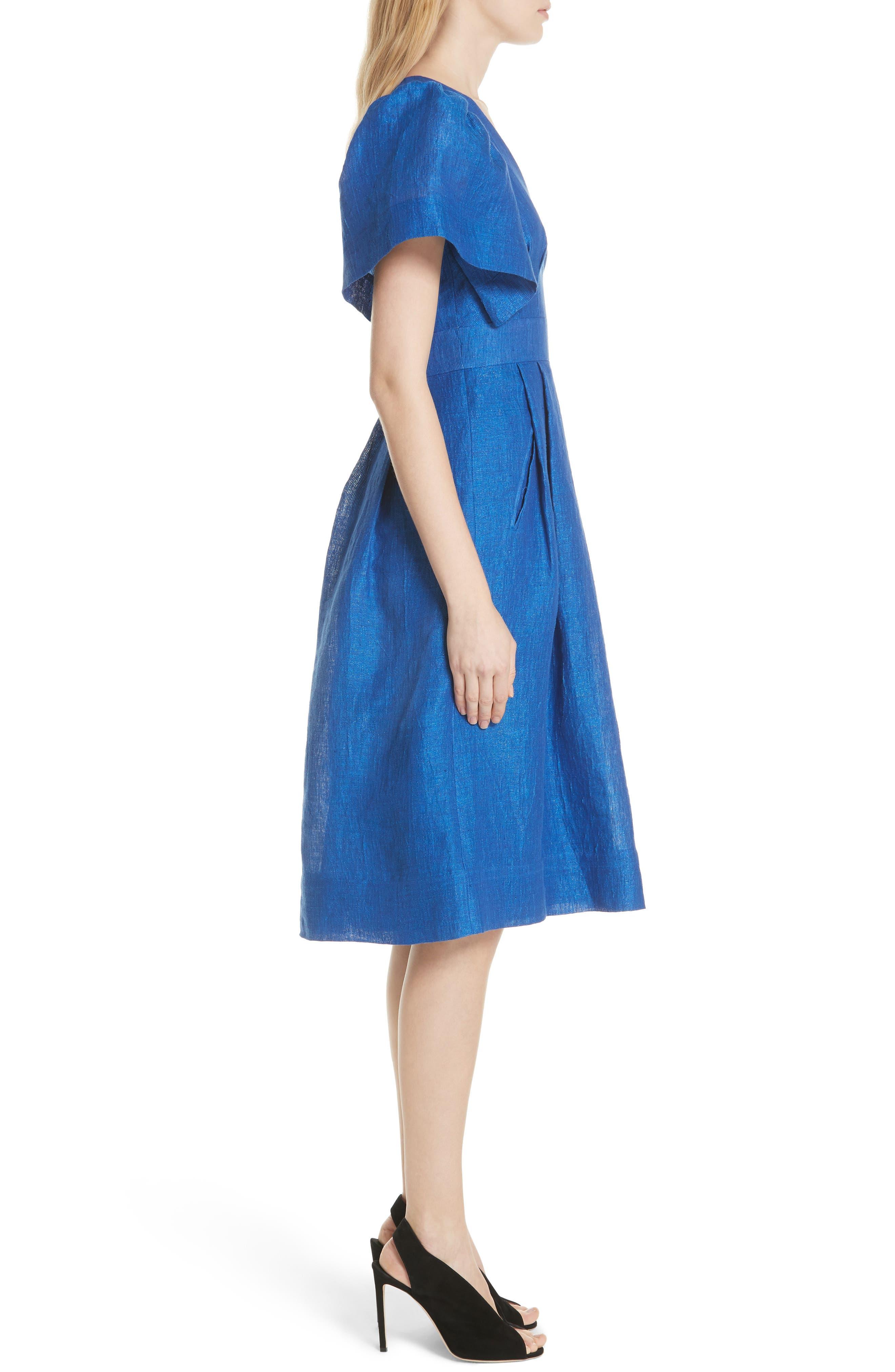 Open Sleeve Backless Linen Blend Dress,                             Alternate thumbnail 3, color,                             409