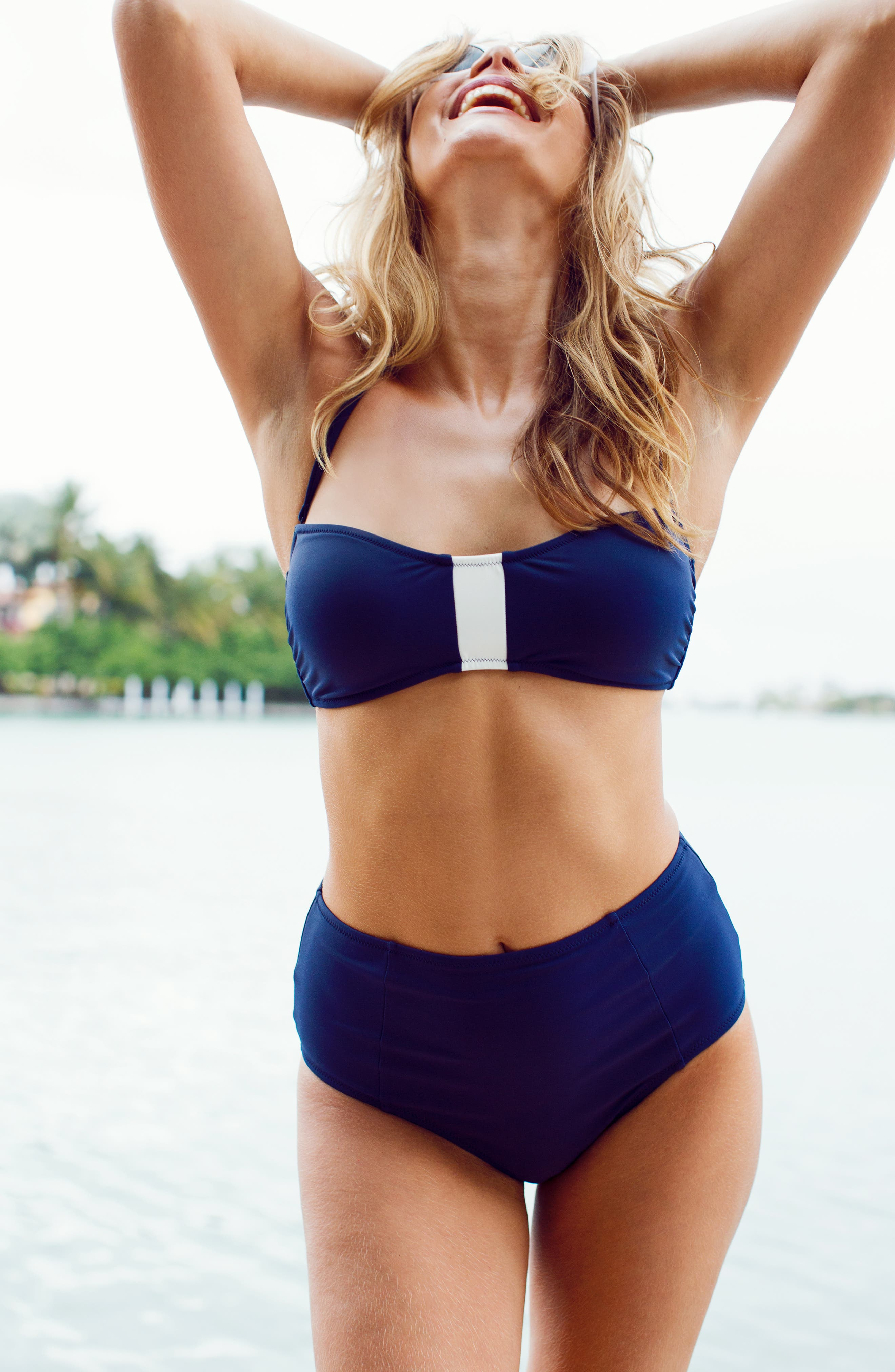 The Colorblock Bandeau Swim Top,                             Alternate thumbnail 6, color,                             LIVELY NAVY AND LIVELY WHITE