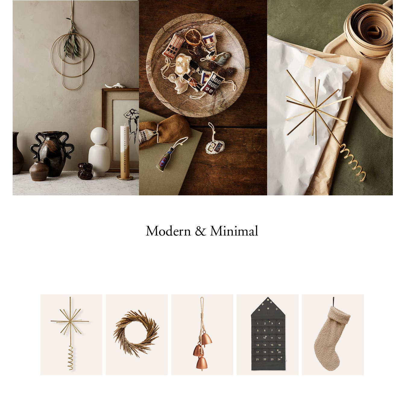 Neutral-toned holiday decorations and ornaments.