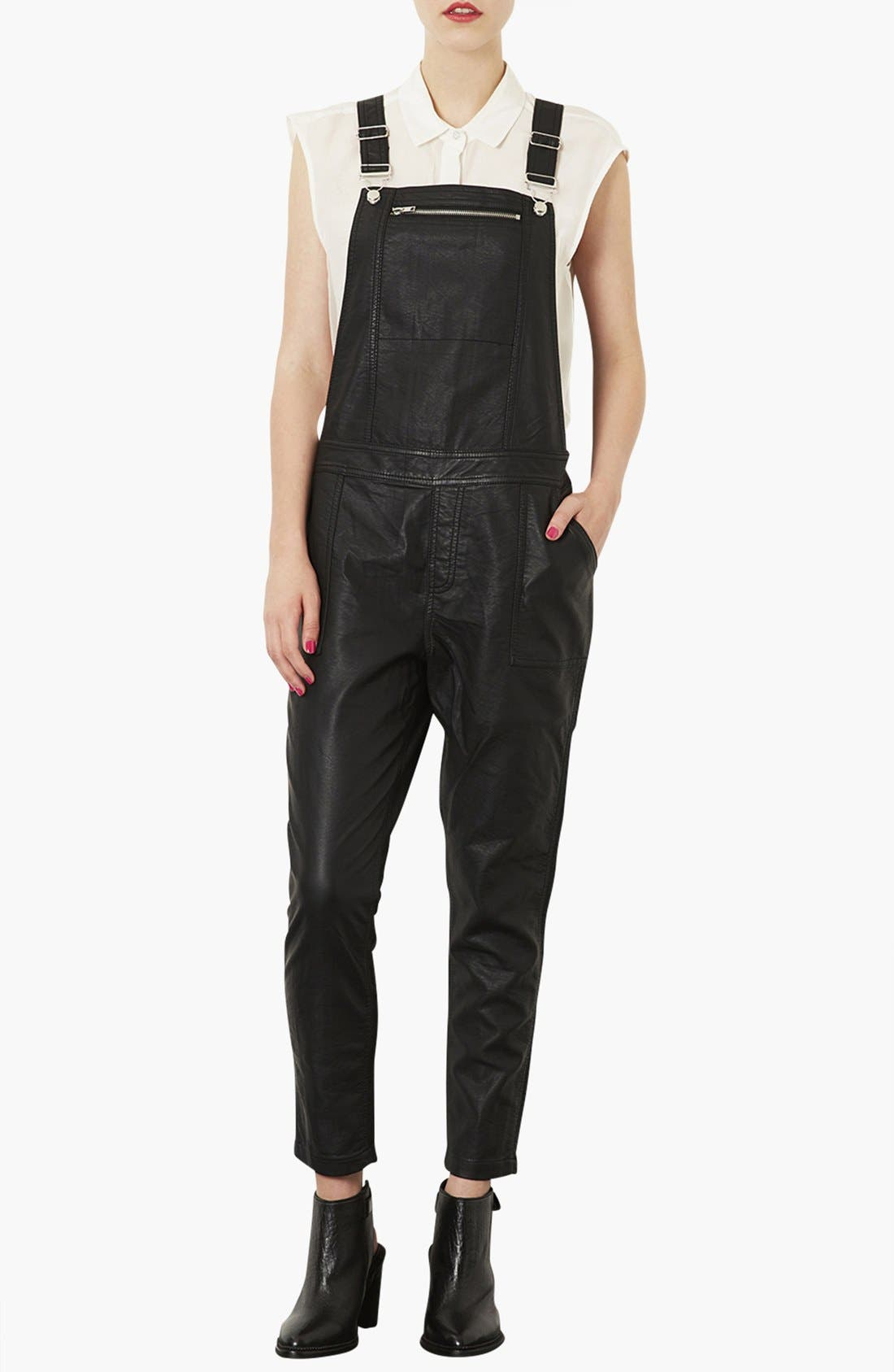 Faux Leather Overalls,                             Alternate thumbnail 2, color,                             001