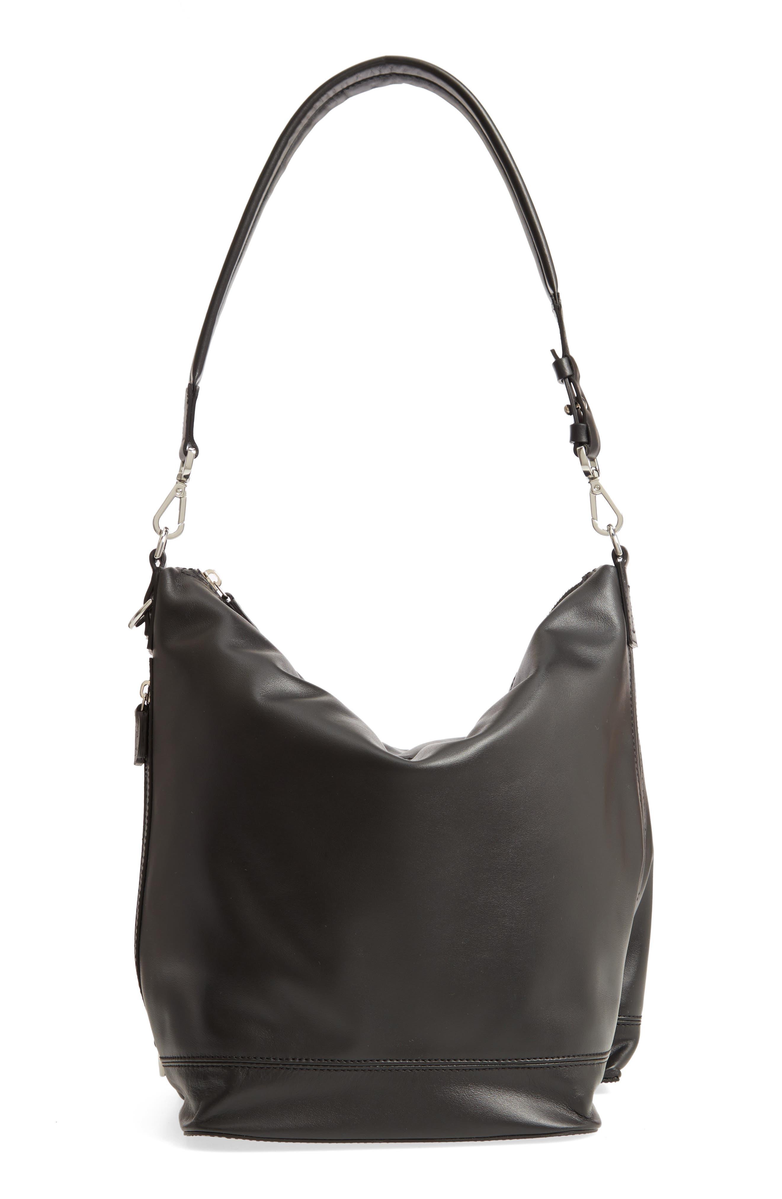 Faux Leather Convertible Hobo,                         Main,                         color, BLACK/ BLACK