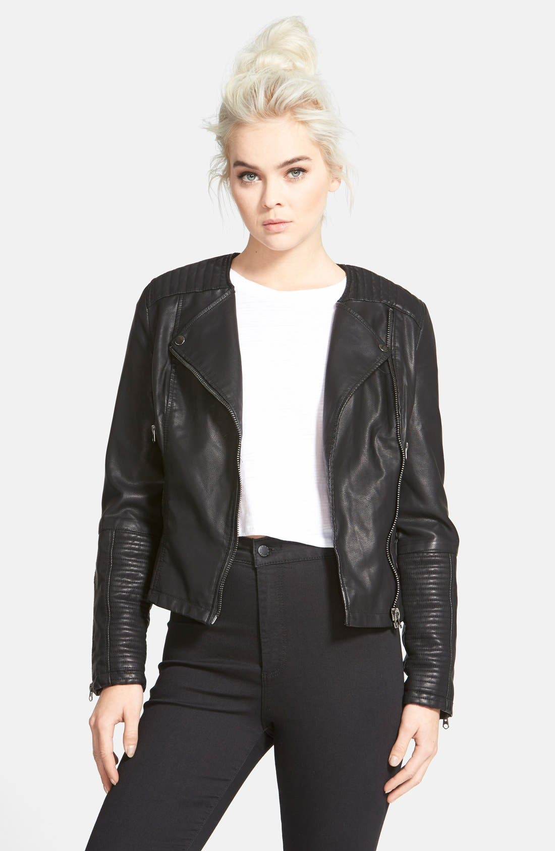 Faux Leather Biker Jacket,                             Alternate thumbnail 4, color,                             001