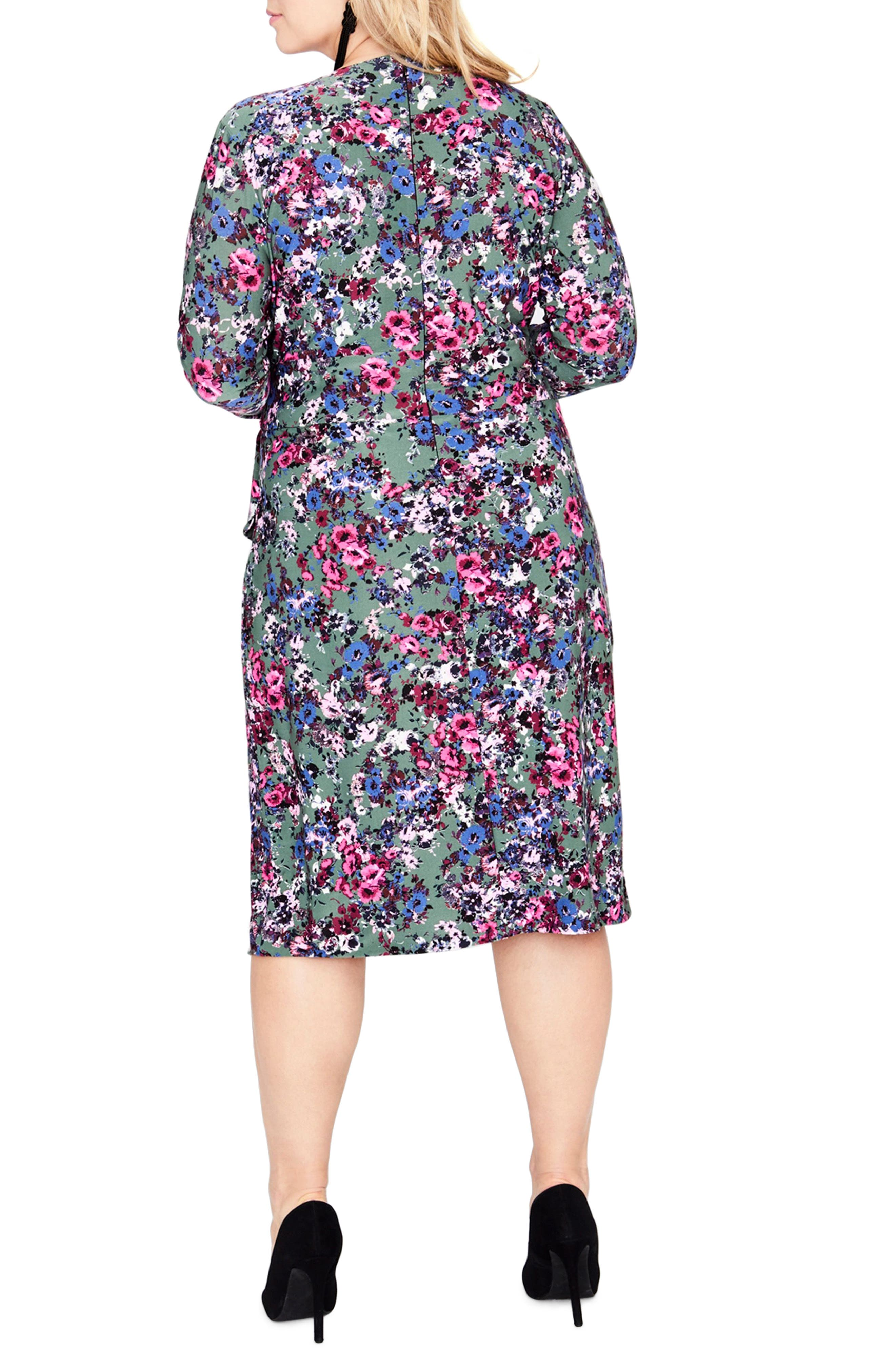 Tie Waist Print Jersey Dress,                             Alternate thumbnail 2, color,                             GREEN COMBO