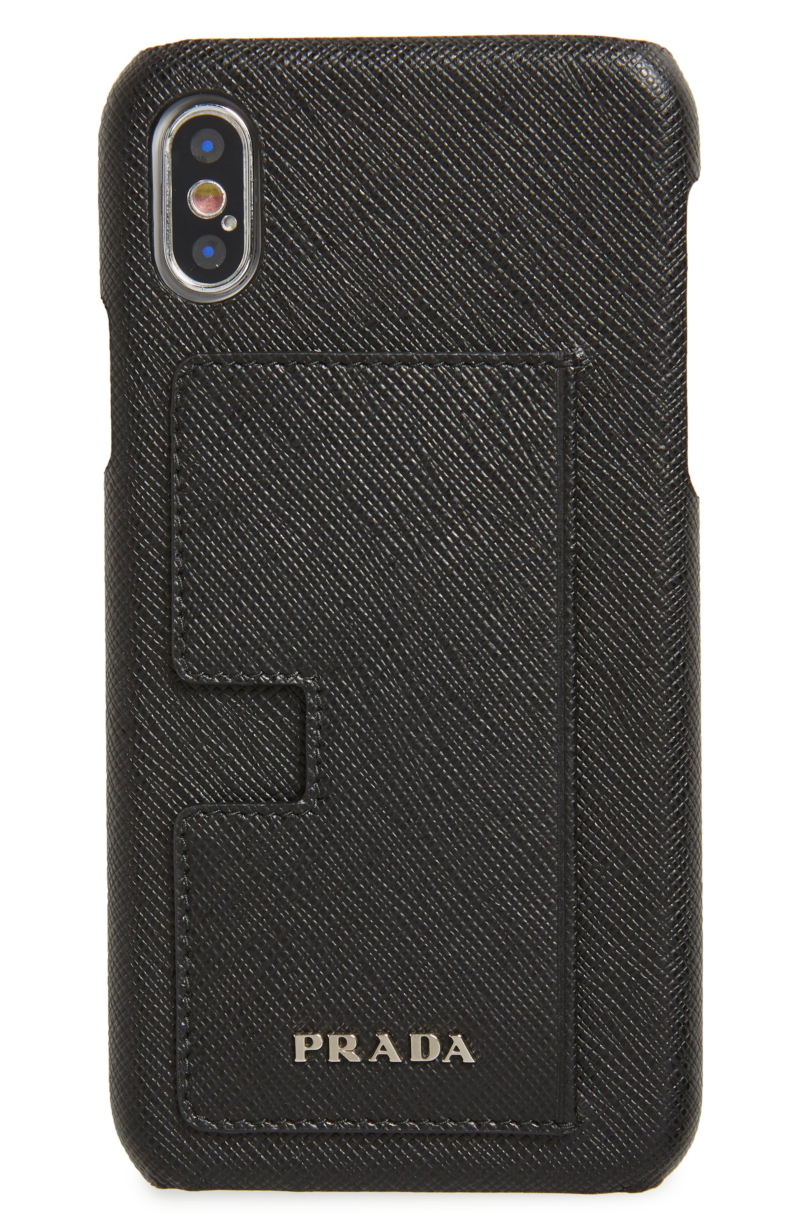 PRADA,                             Saffiano Leather iPhone X & Xs Case,                             Main thumbnail 1, color,                             001