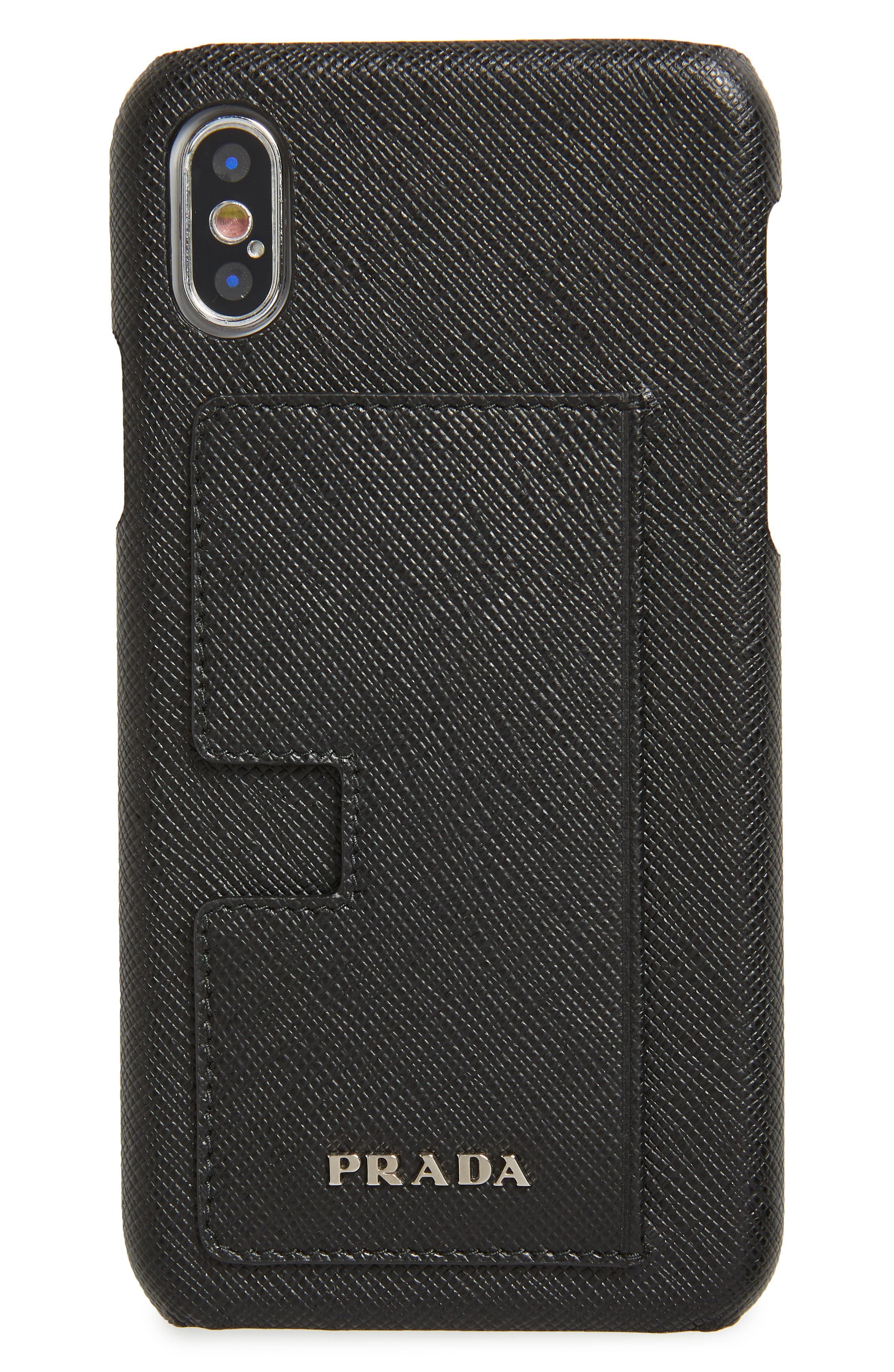 PRADA Saffiano Leather iPhone X & Xs Case, Main, color, 001
