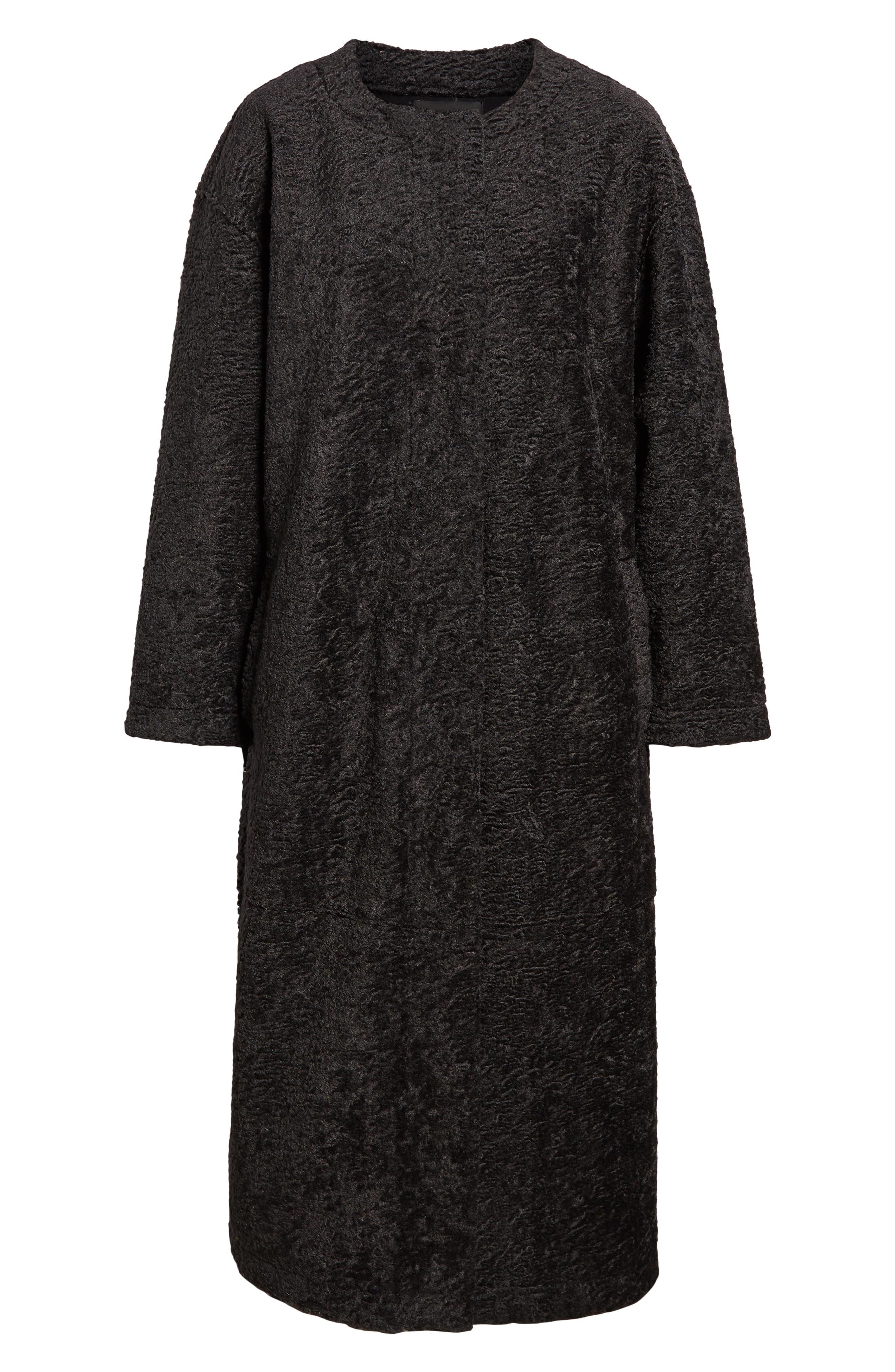 Long Faux Shearling Coat,                             Alternate thumbnail 6, color,                             GREY PHANTOM
