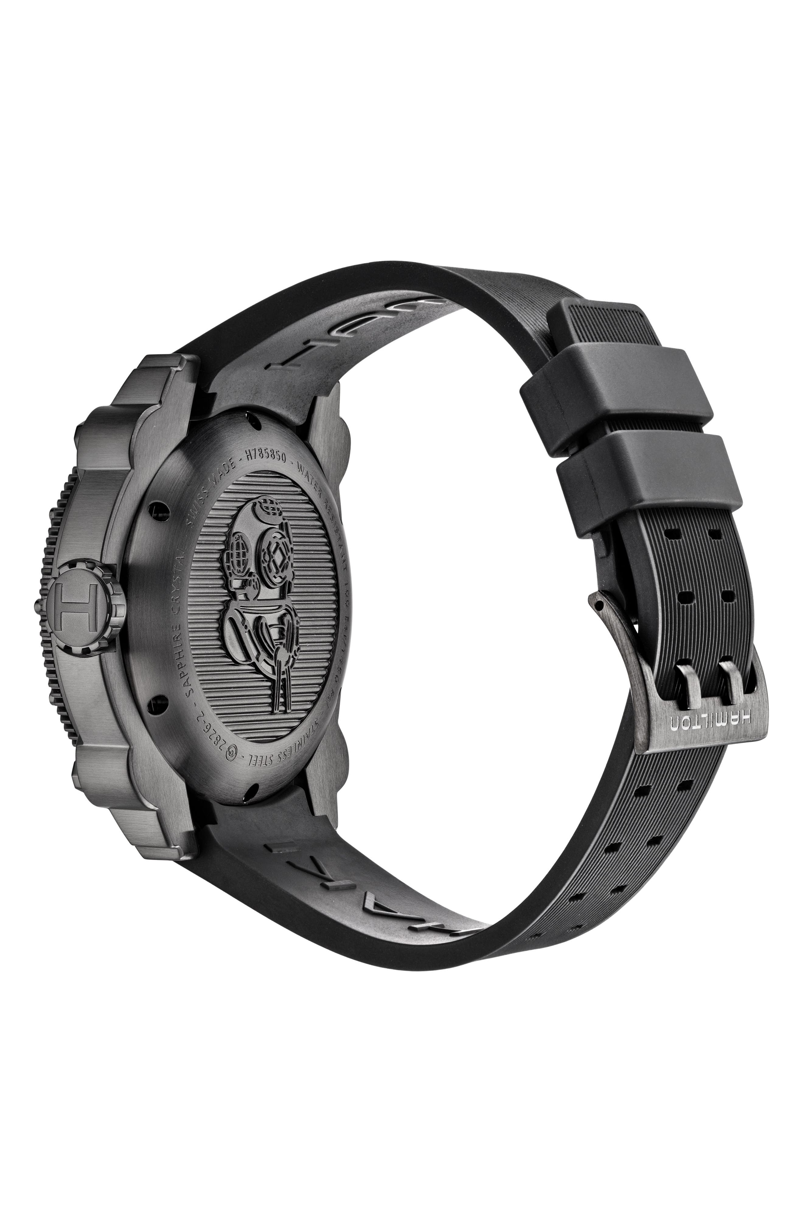 Khaki BelowZero Automatic Rubber Strap Watch, 46mm,                             Alternate thumbnail 2, color,                             BLACK