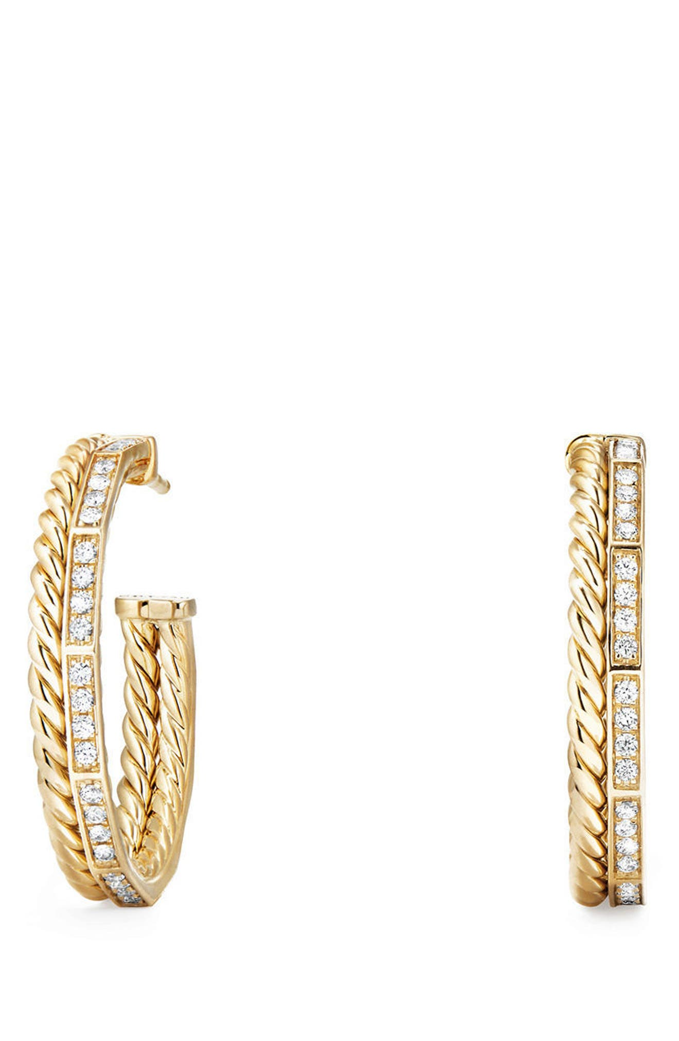 Stax Hoop Earrings with Diamonds in 18k Gold,                         Main,                         color, YELLOW GOLD