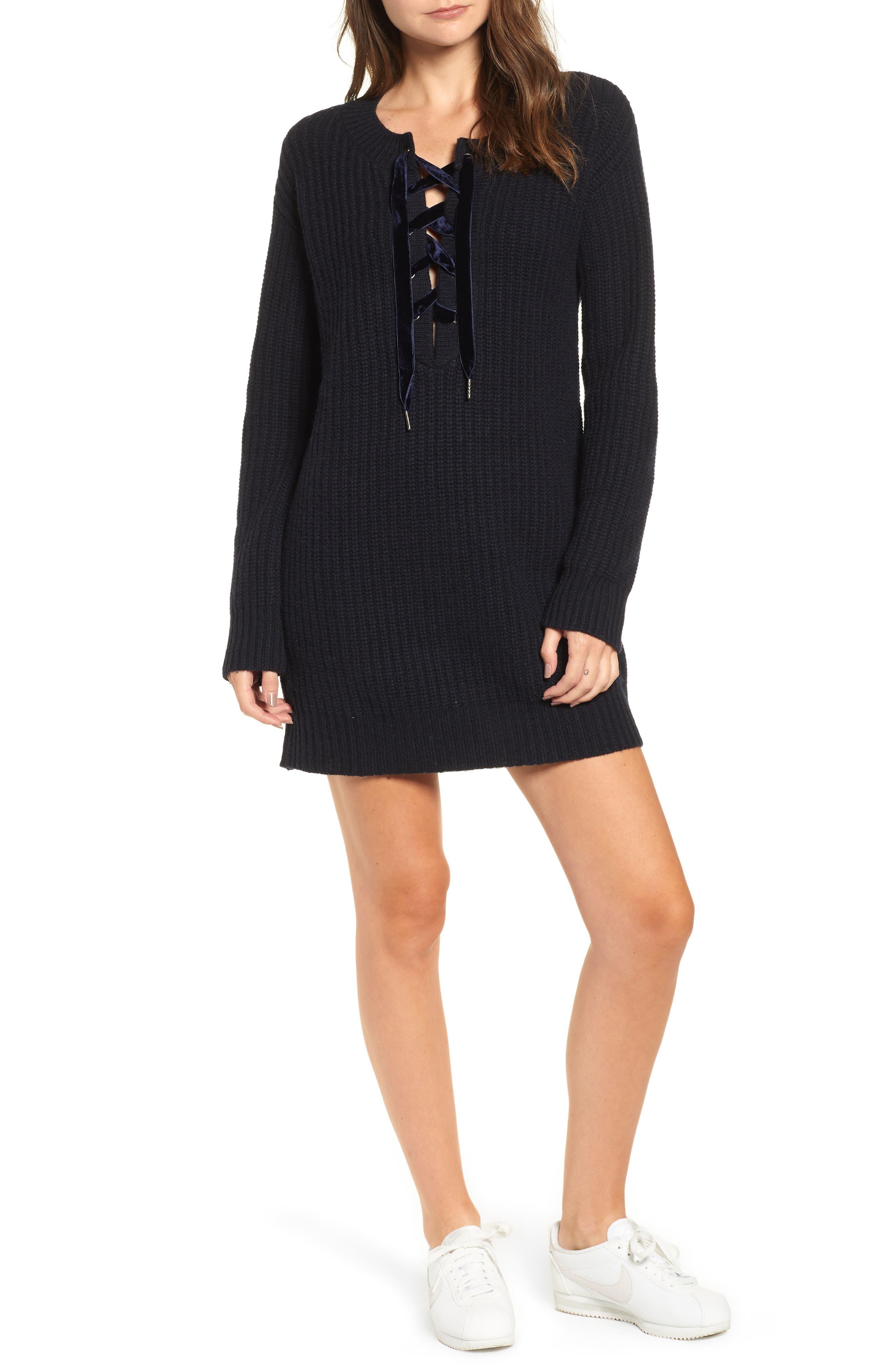 Nicole Velvet Tie Sweater Dress,                         Main,                         color, 400