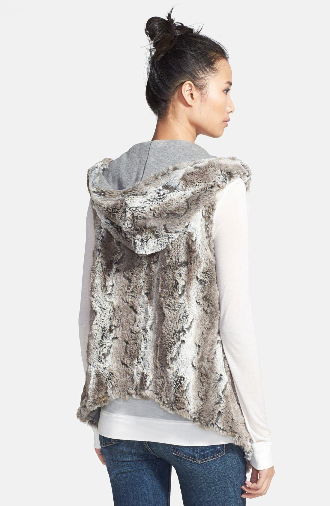 Reversible Hooded Faux Fur Vest,                             Alternate thumbnail 3, color,                             032