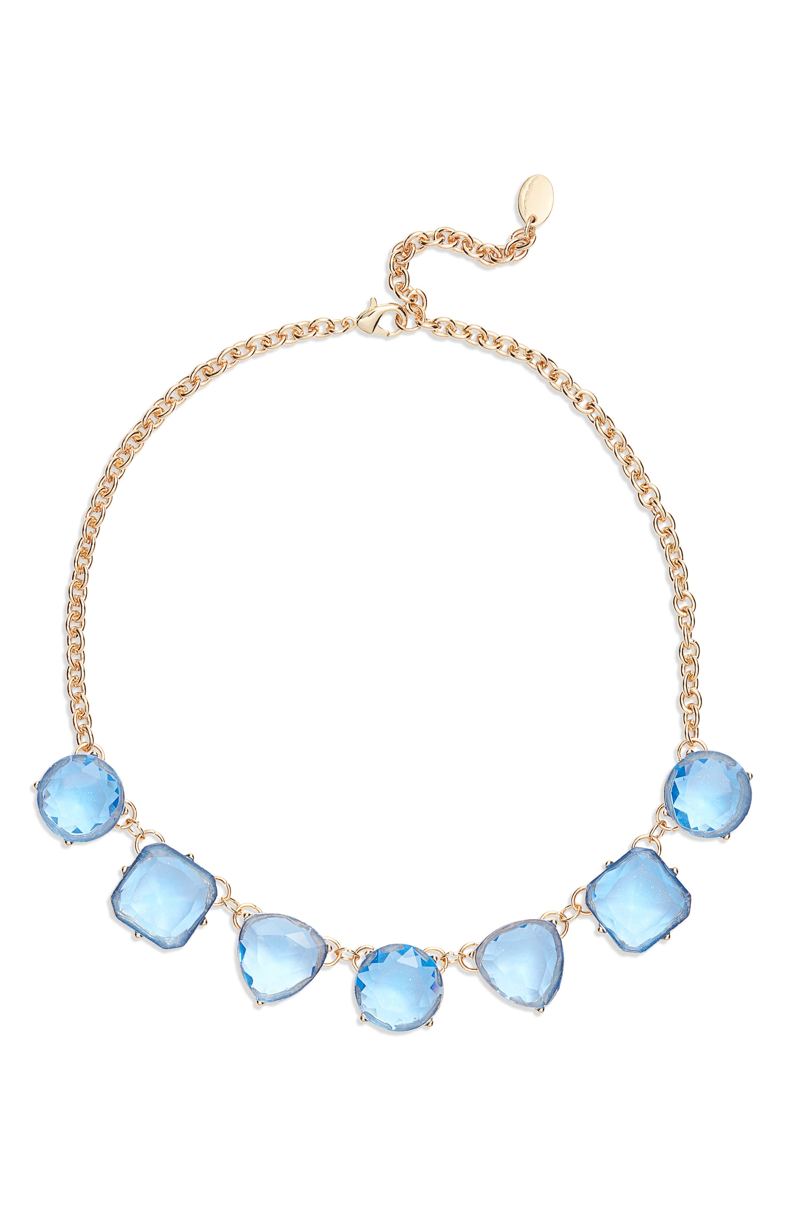 STELLA + RUBY Tilly Collar Necklace, Main, color, GOLD/ BLUE