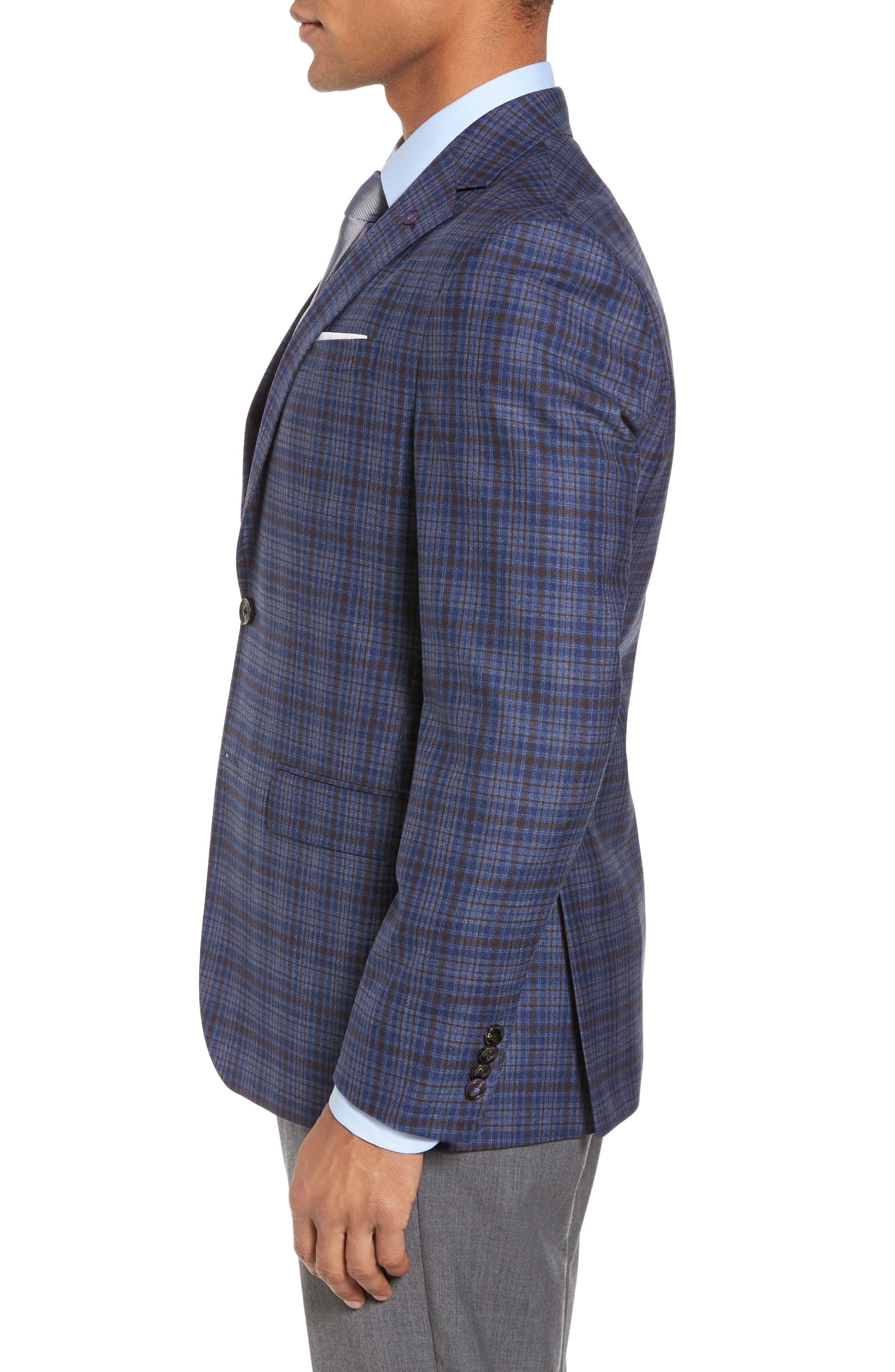 Konan Trim Fit Plaid Wool Sport Coat,                             Alternate thumbnail 3, color,
