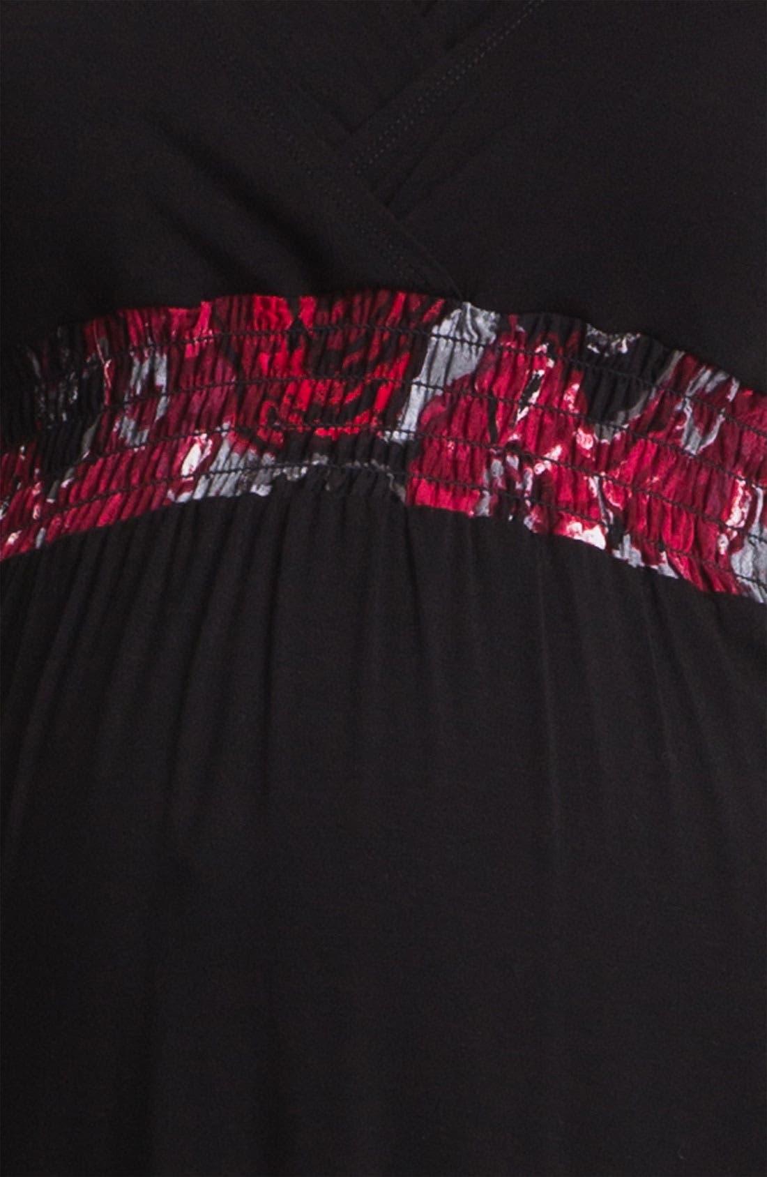 Shirred Empire Waist Maternity Dress,                             Alternate thumbnail 3, color,