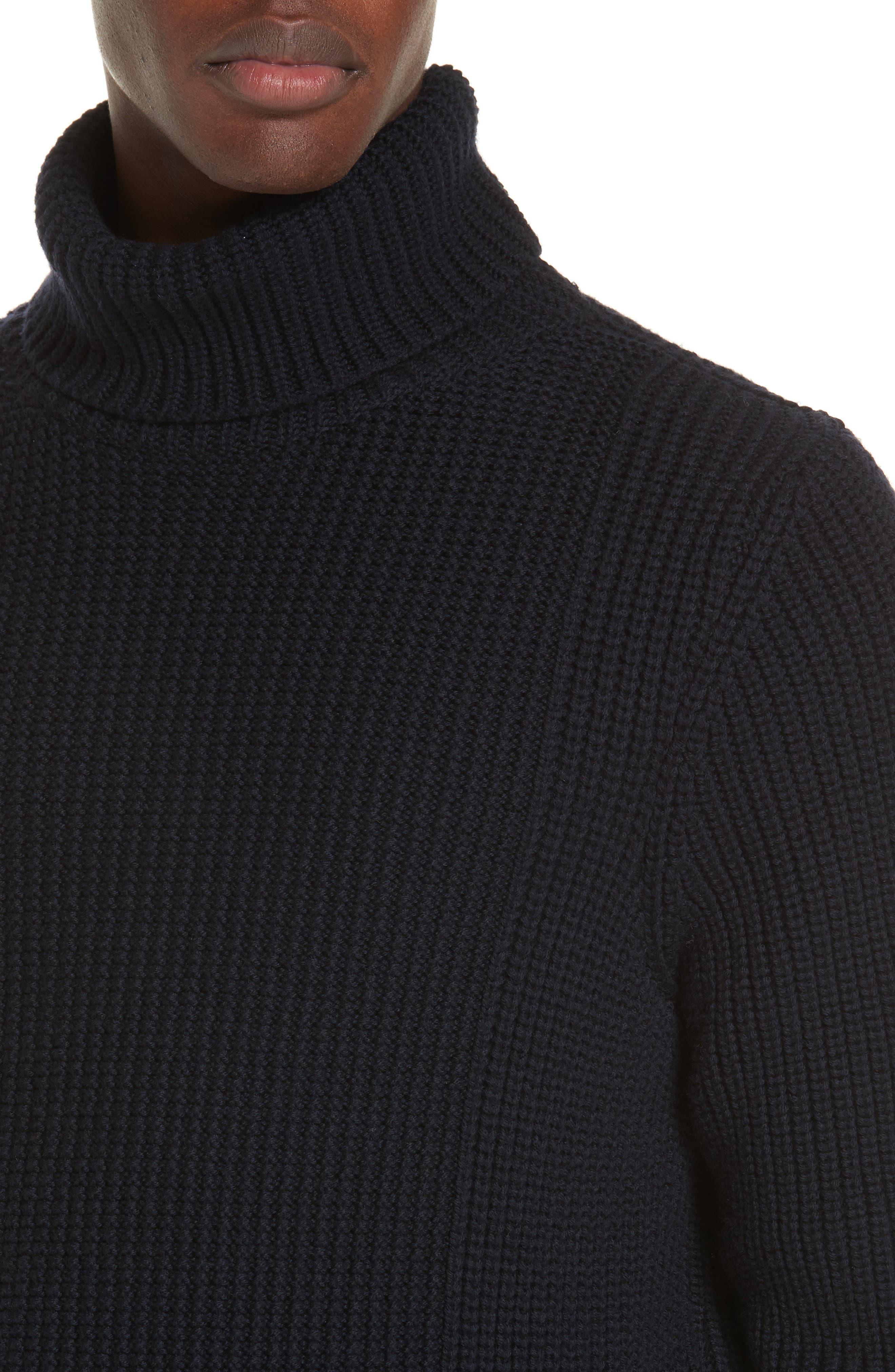 Ribbed Merino Wool Turtleneck Sweater,                             Alternate thumbnail 4, color,                             NAVY