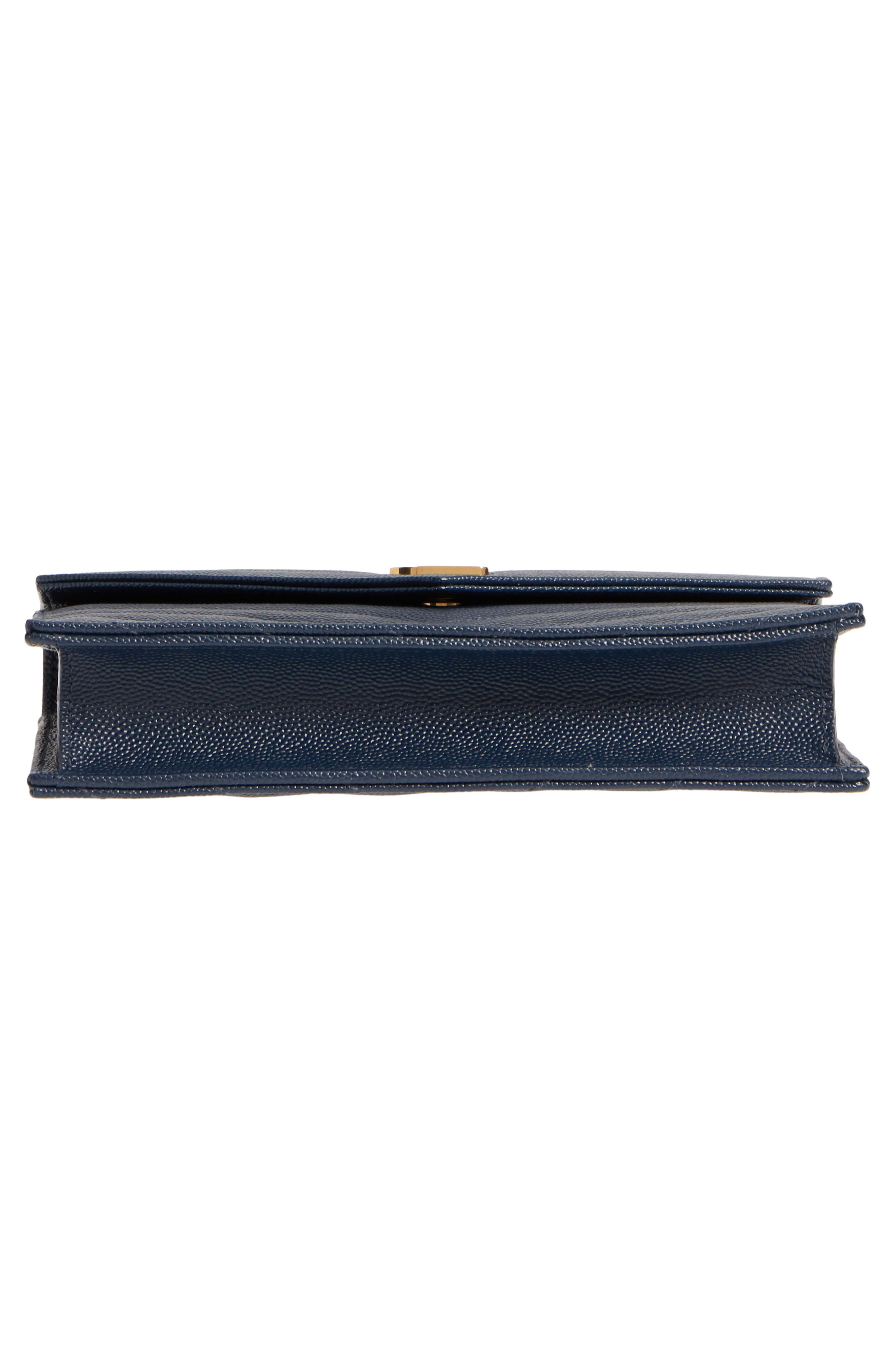 'Small Mono' Leather Wallet on a Chain,                             Alternate thumbnail 6, color,                             NAVY