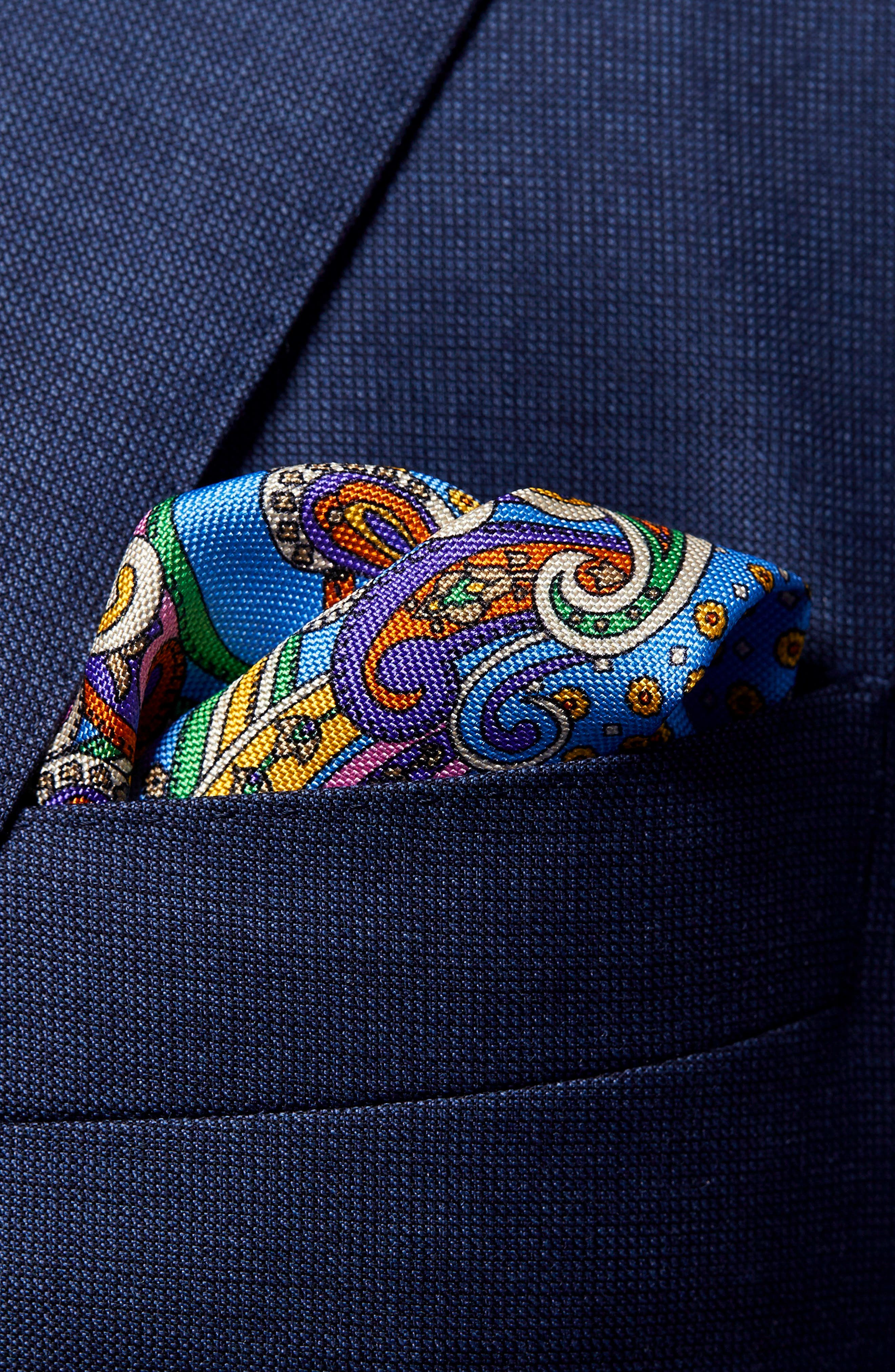 Paisley Silk Pocket Square,                             Alternate thumbnail 2, color,                             400