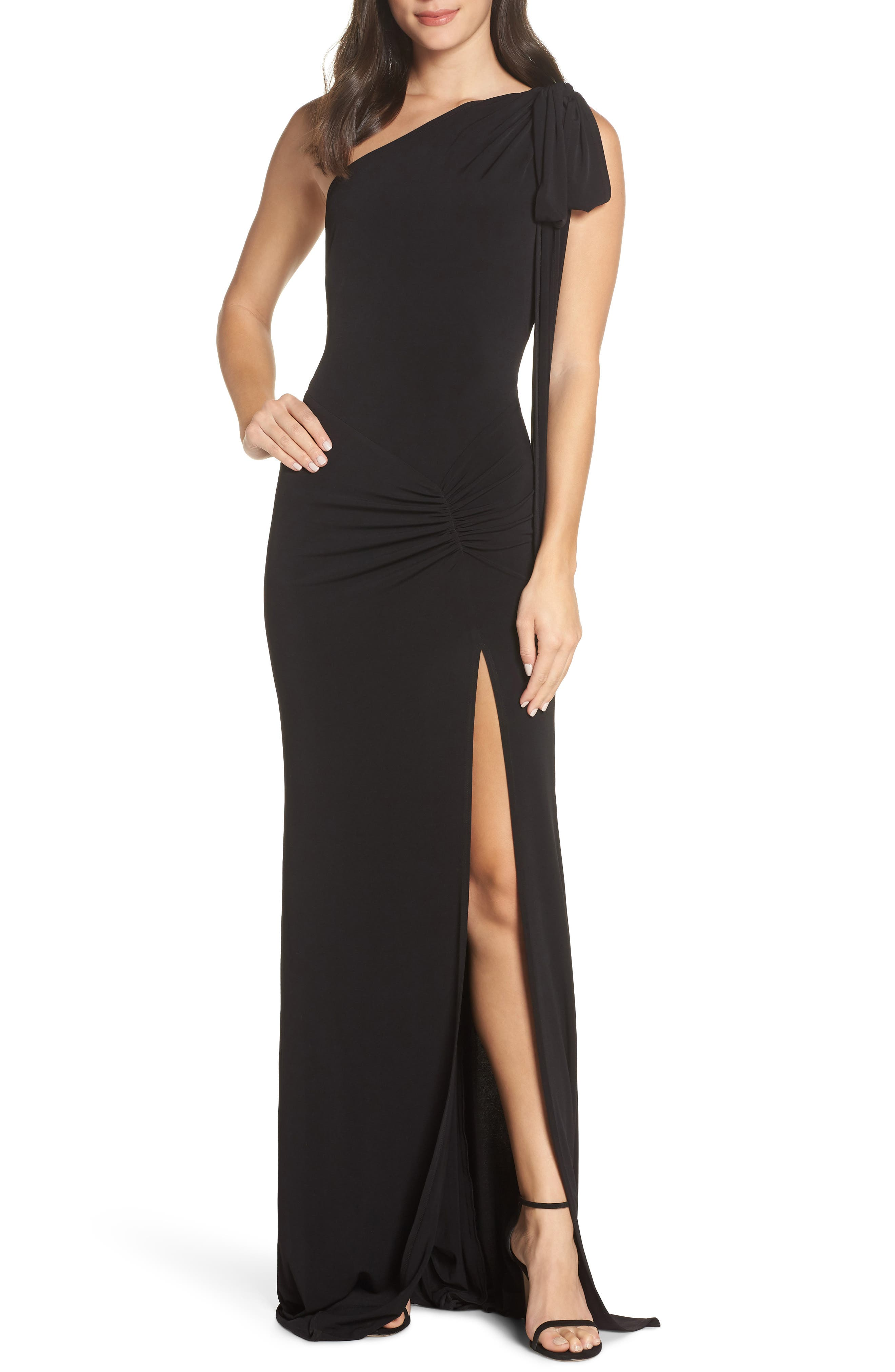 KATIE MAY One-Shoulder Gown, Main, color, BLACK