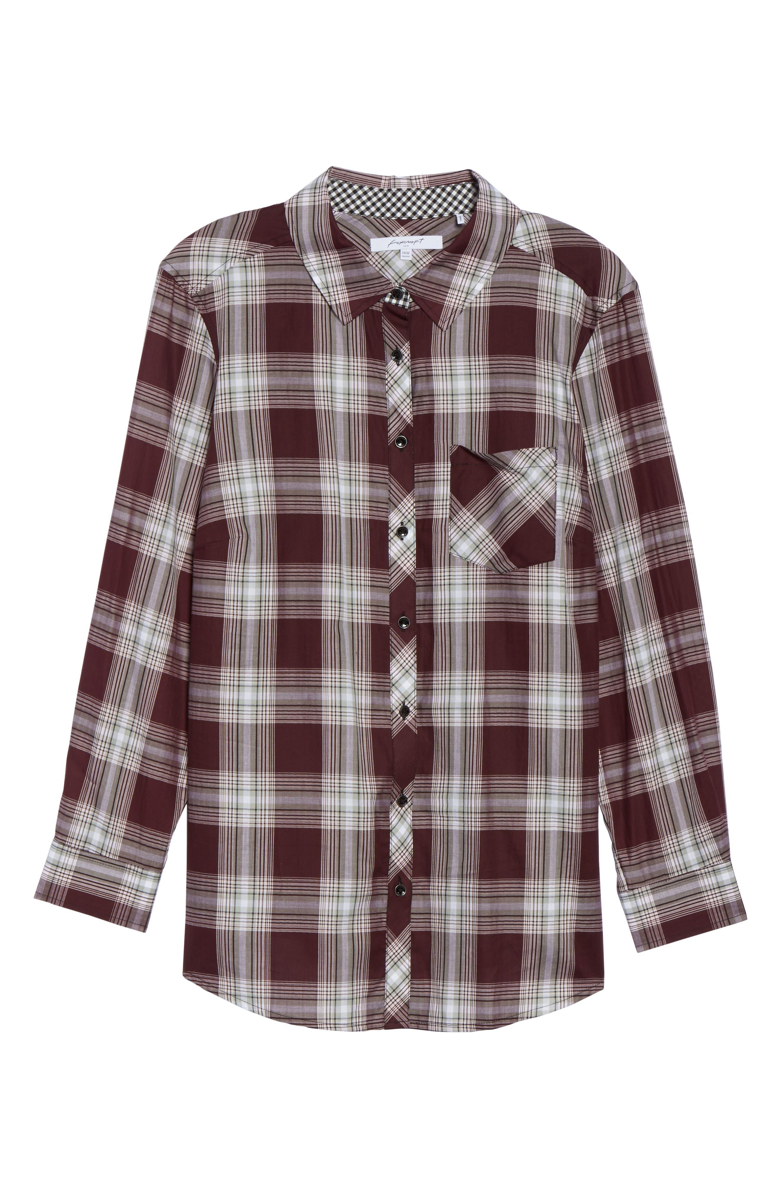 Addison Plaid Cotton Shirt,                             Alternate thumbnail 6, color,                             605