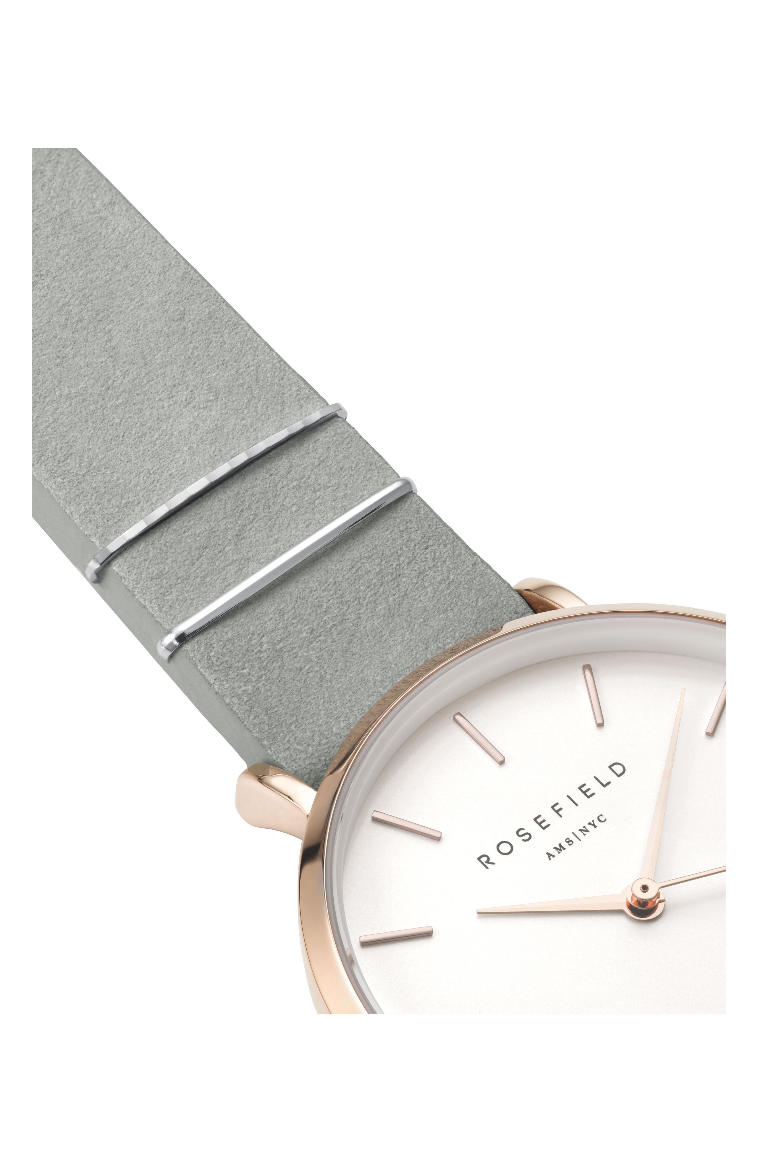 West Village Leather Strap Watch, 33mm,                             Alternate thumbnail 3, color,                             MINT GREY/ WHITE/ ROSE GOLD